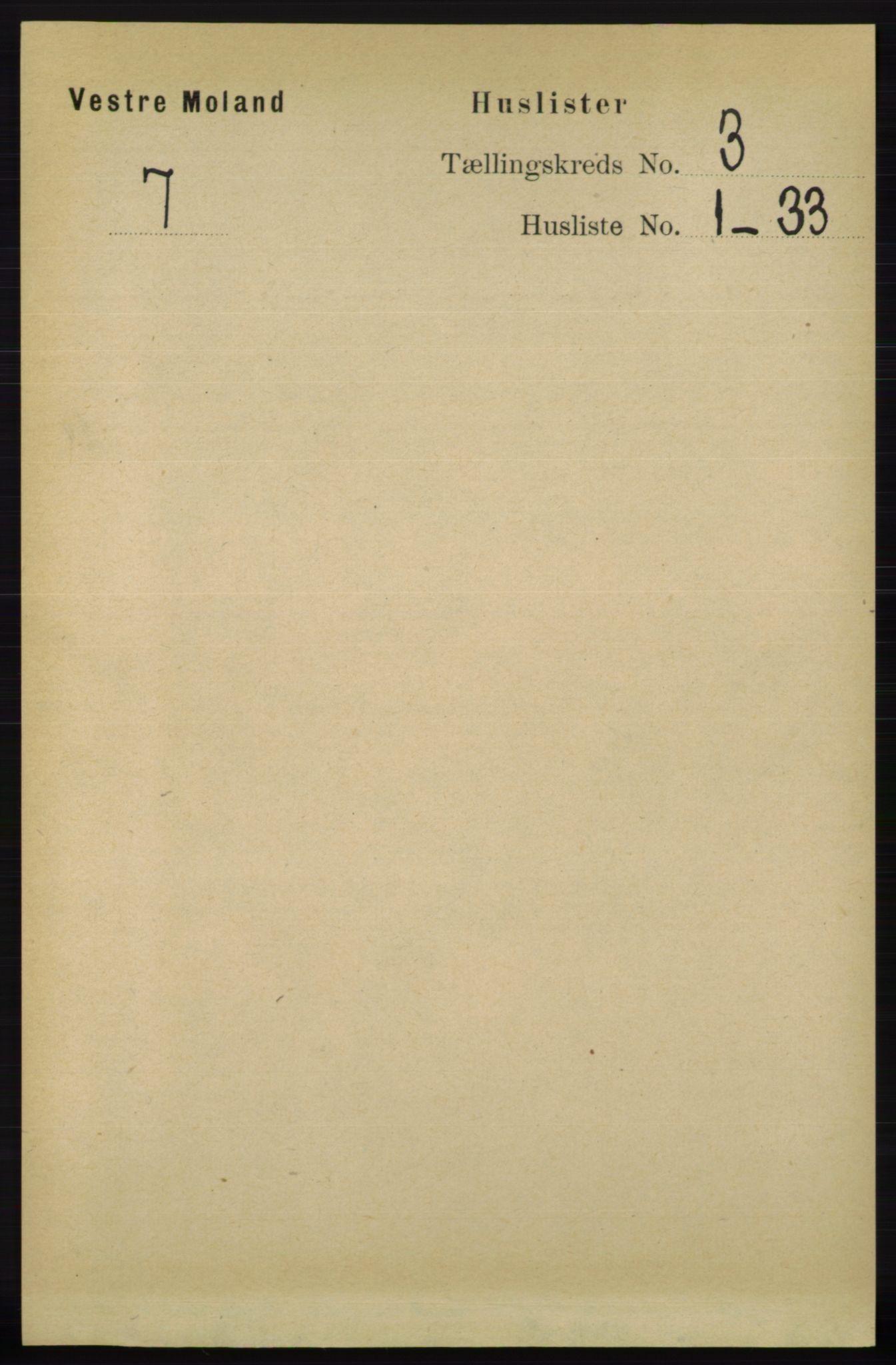 RA, Folketelling 1891 for 0926 Vestre Moland herred, 1891, s. 920
