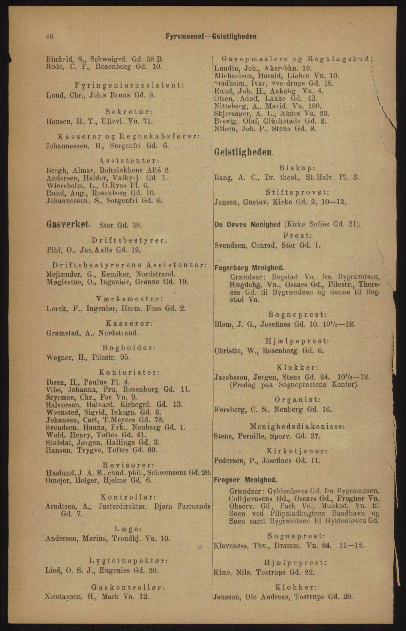 RA, Kristiania adressebok (publikasjon)*, 1905, s. 46