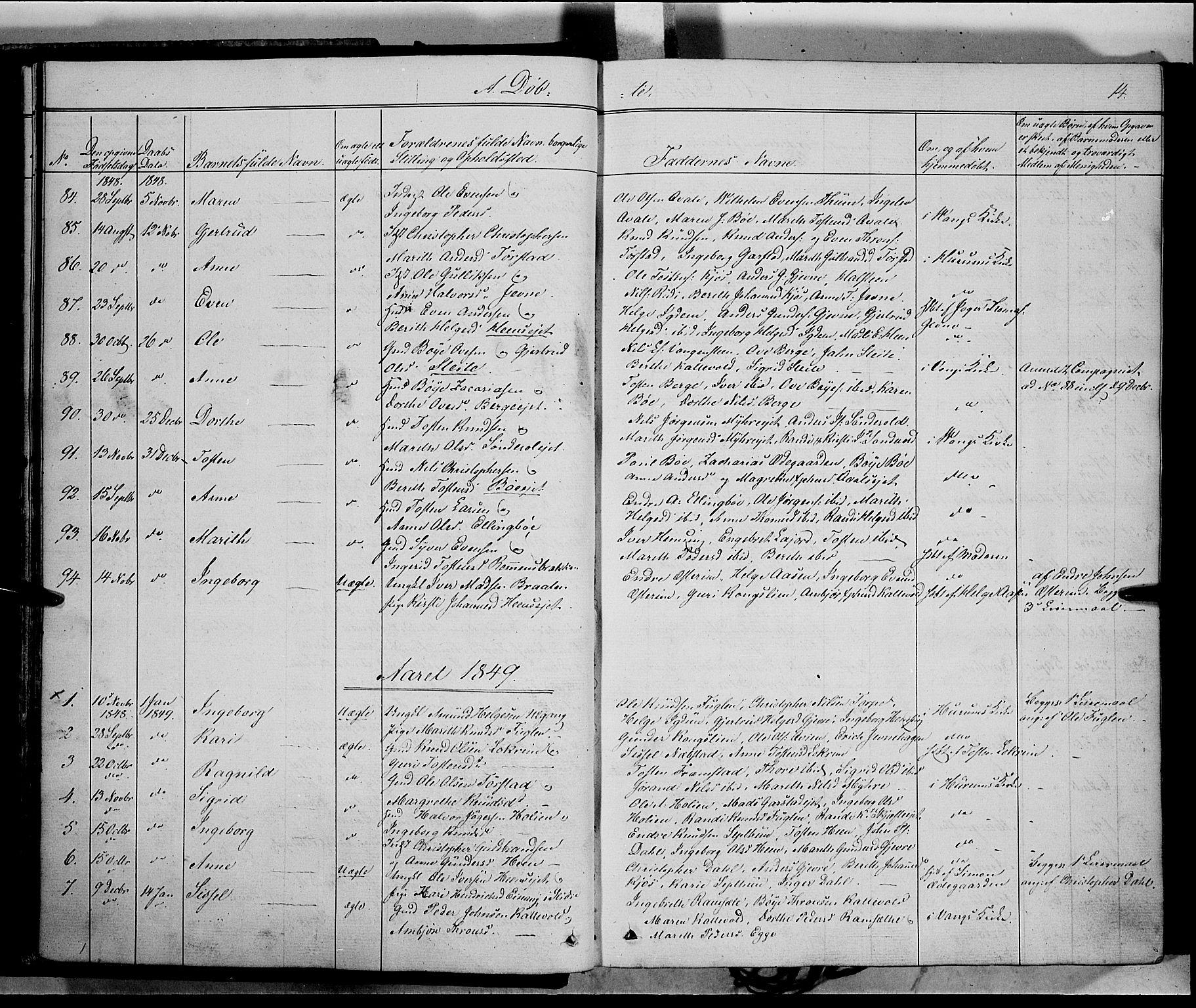 SAH, Vang prestekontor, Valdres, Ministerialbok nr. 6, 1846-1864, s. 14