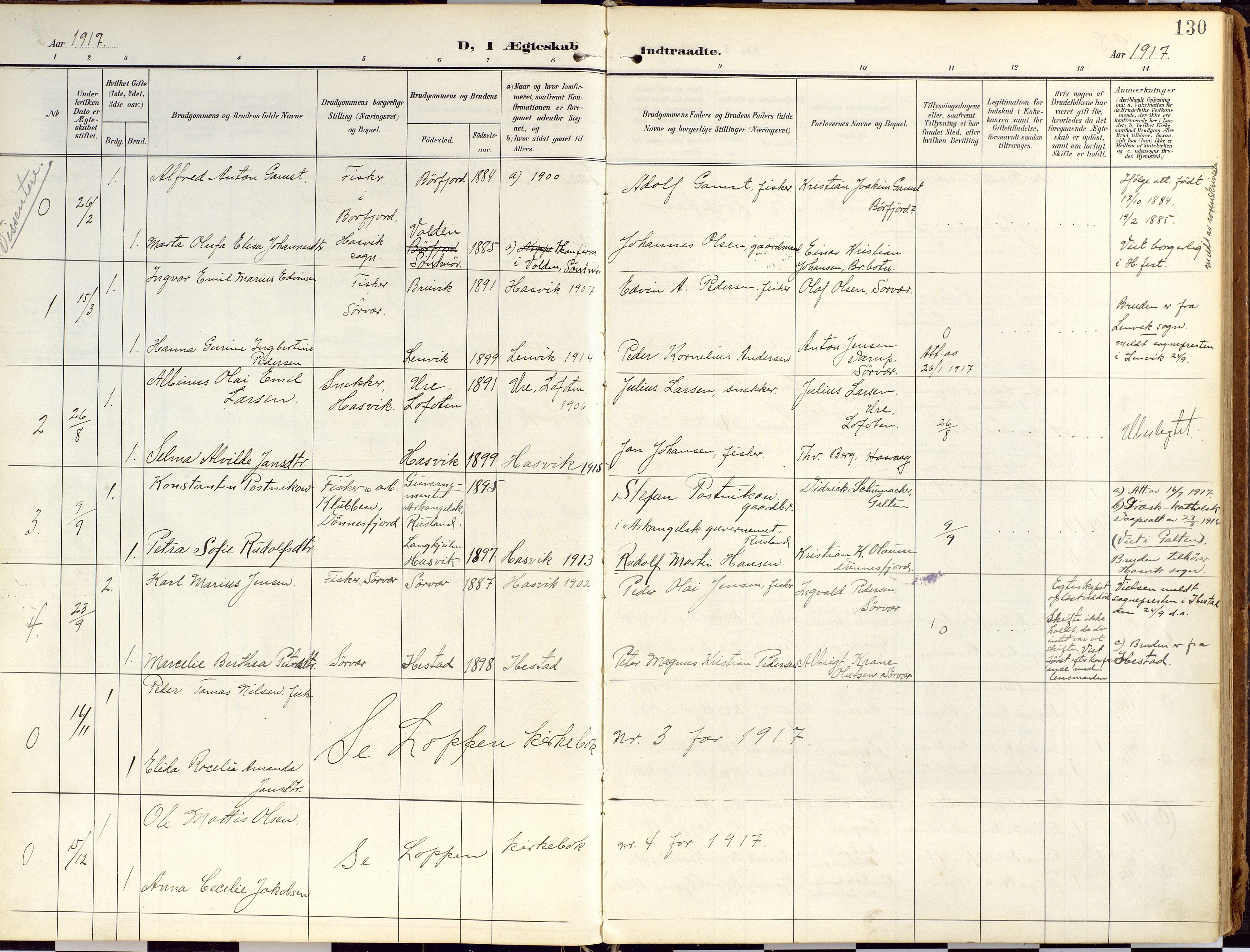 SATØ, Loppa sokneprestkontor, H/Ha/L0010kirke: Ministerialbok nr. 10, 1907-1922, s. 130