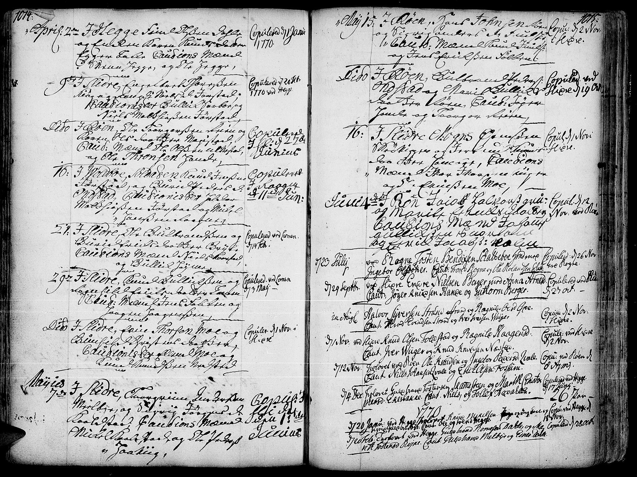 SAH, Slidre prestekontor, Ministerialbok nr. 1, 1724-1814, s. 1014-1015