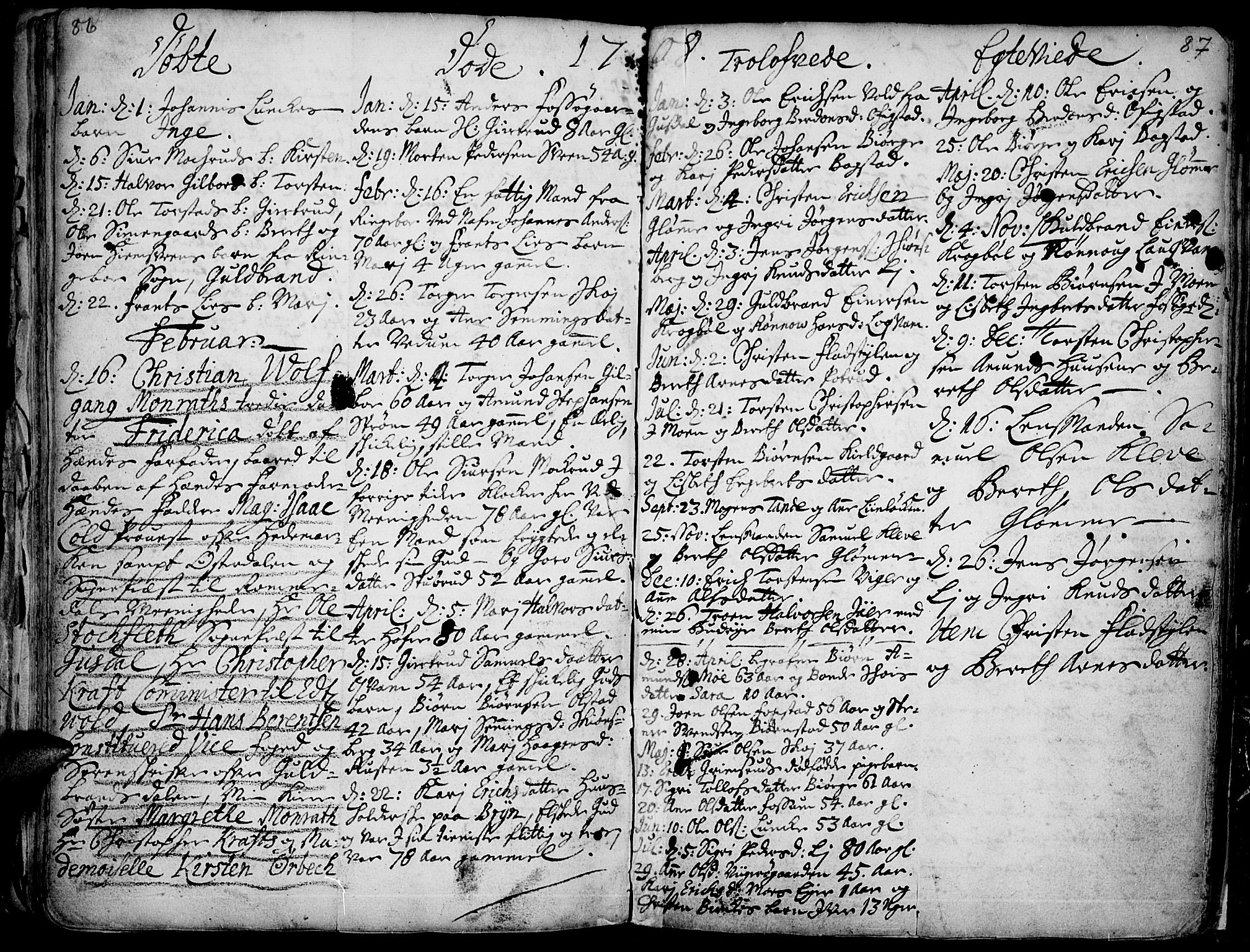 SAH, Øyer prestekontor, Ministerialbok nr. 1, 1671-1727, s. 86-87