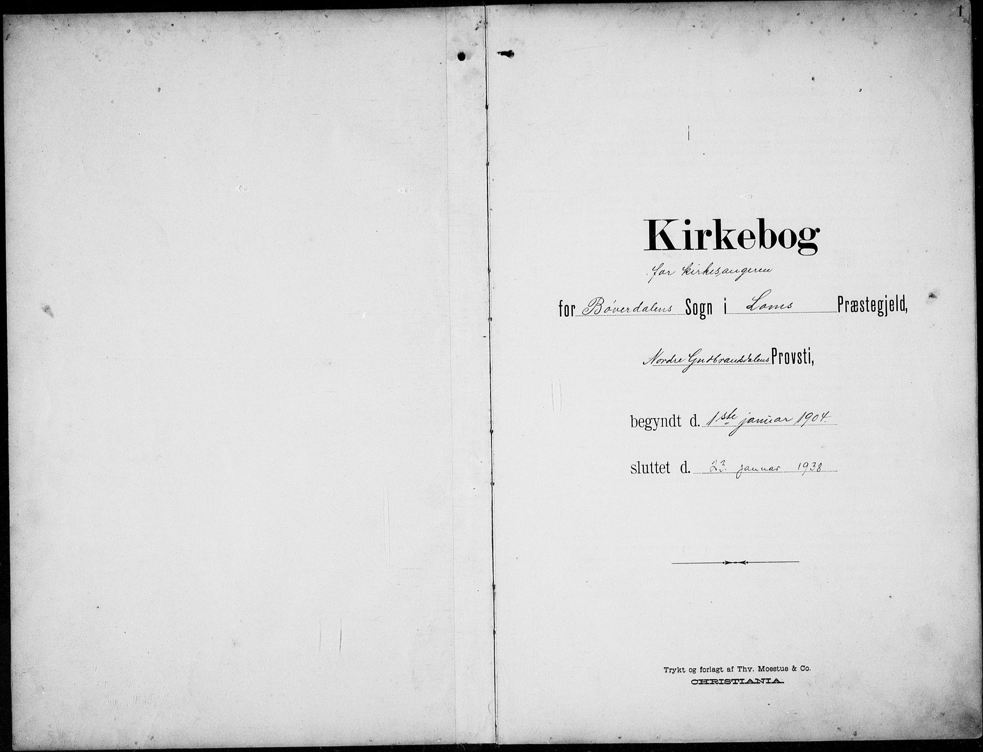 SAH, Lom prestekontor, L/L0007: Klokkerbok nr. 7, 1904-1938, s. 1