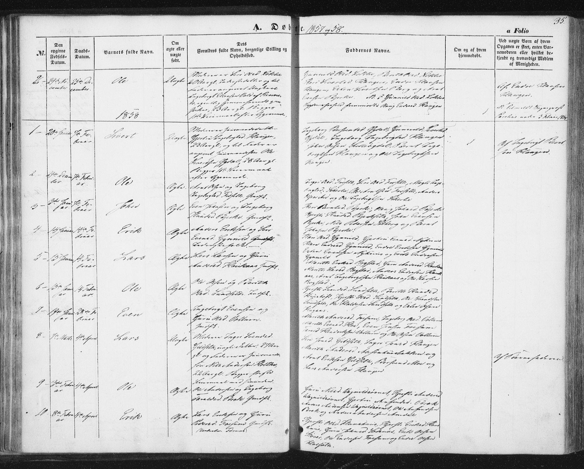 SAT, Ministerialprotokoller, klokkerbøker og fødselsregistre - Sør-Trøndelag, 689/L1038: Ministerialbok nr. 689A03, 1848-1872, s. 35
