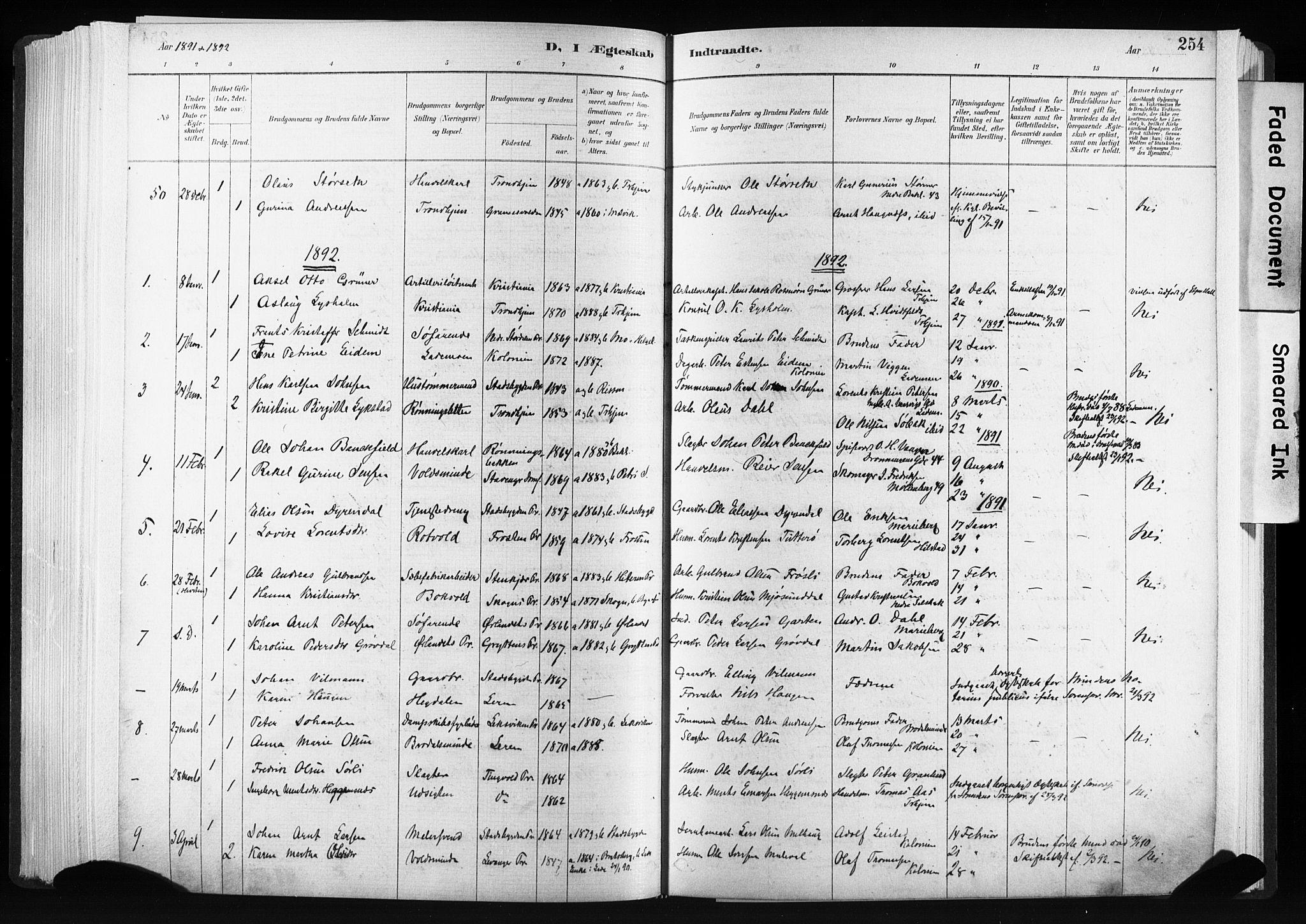 SAT, Ministerialprotokoller, klokkerbøker og fødselsregistre - Sør-Trøndelag, 606/L0300: Ministerialbok nr. 606A15, 1886-1893, s. 254