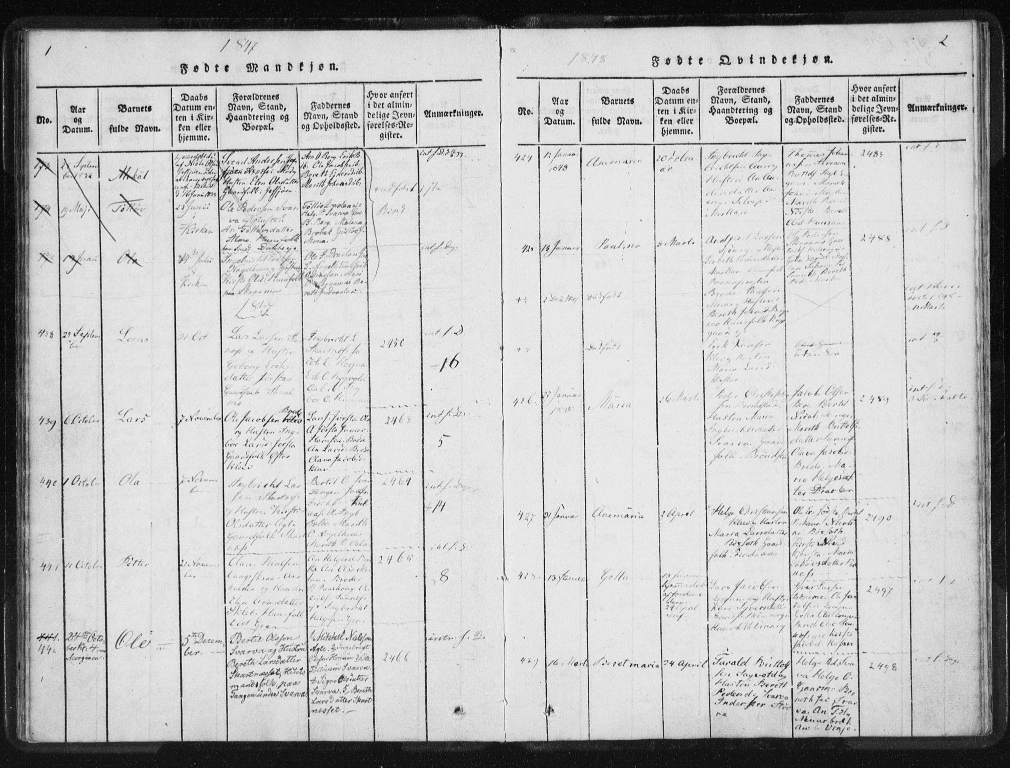 SAT, Ministerialprotokoller, klokkerbøker og fødselsregistre - Nord-Trøndelag, 749/L0471: Ministerialbok nr. 749A05, 1847-1856, s. 1-2