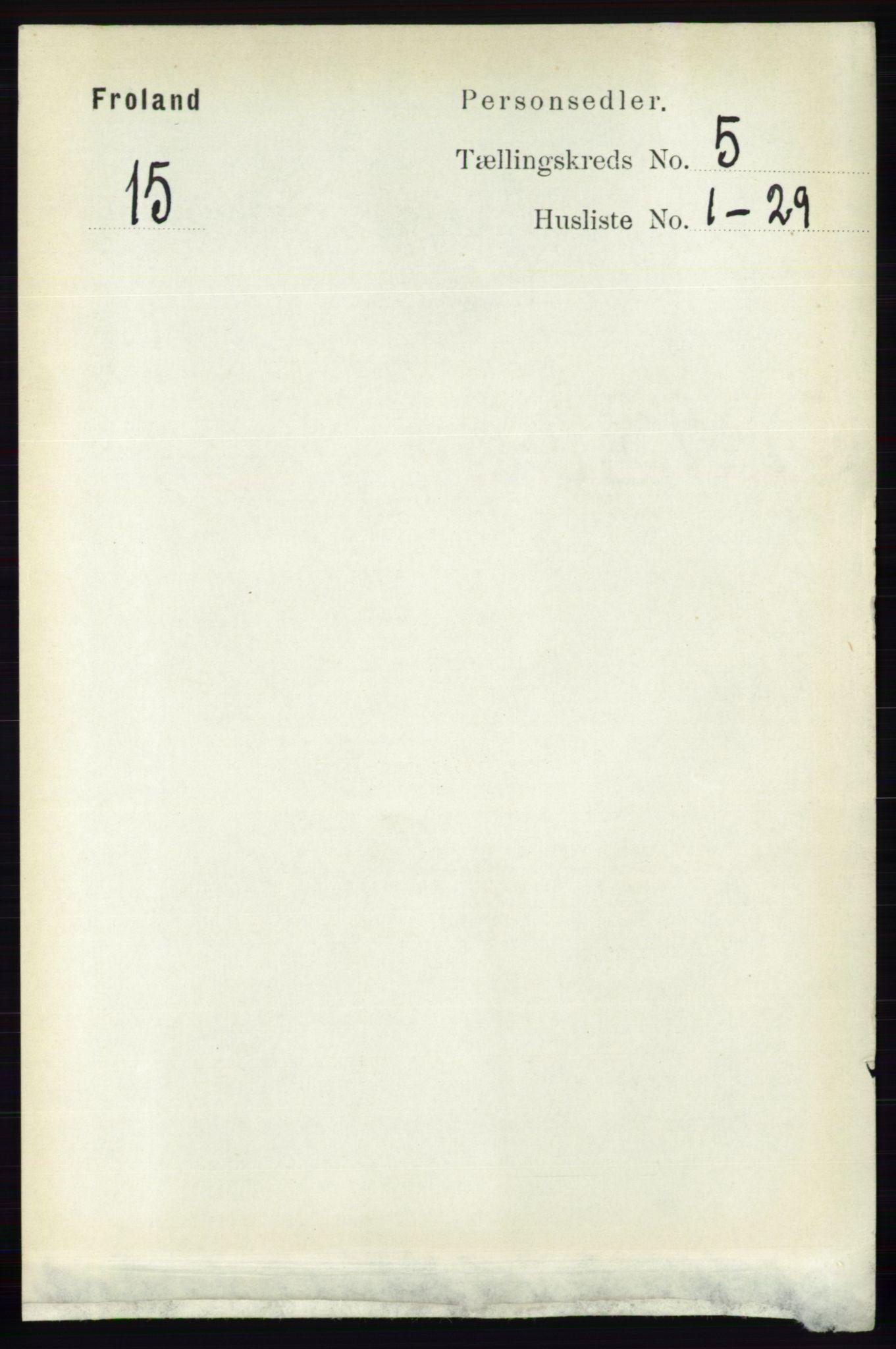 RA, Folketelling 1891 for 0919 Froland herred, 1891, s. 1779