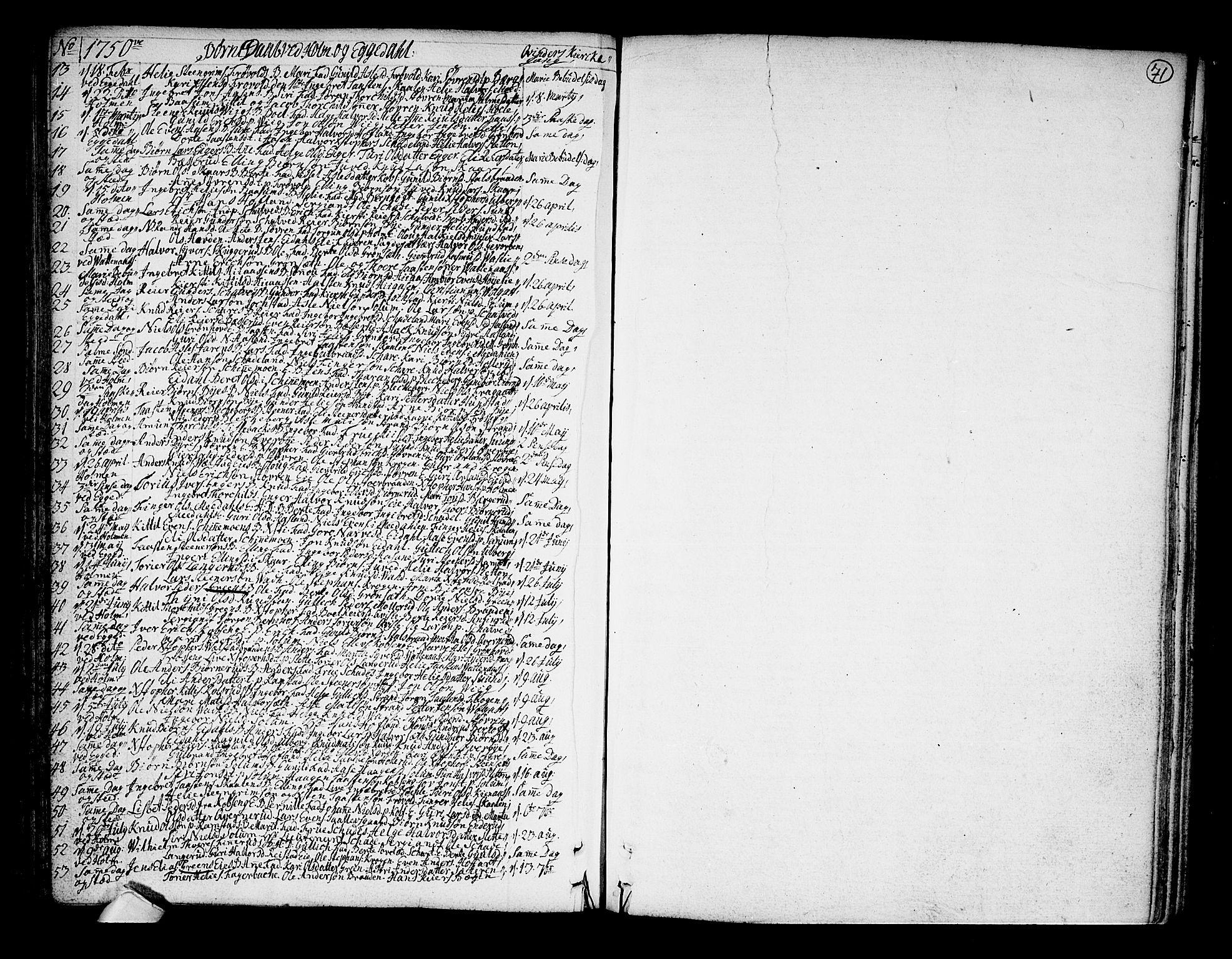 SAKO, Sigdal kirkebøker, F/Fa/L0001: Ministerialbok nr. I 1, 1722-1777, s. 71