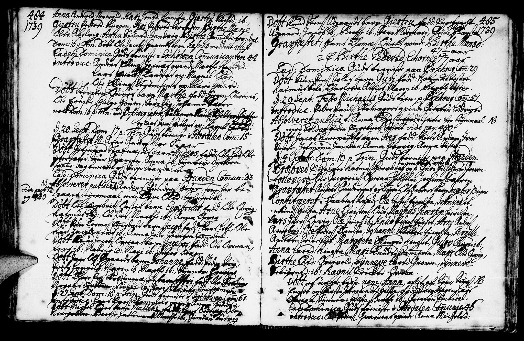SAT, Ministerialprotokoller, klokkerbøker og fødselsregistre - Møre og Romsdal, 522/L0306: Ministerialbok nr. 522A01, 1720-1743, s. 484-485