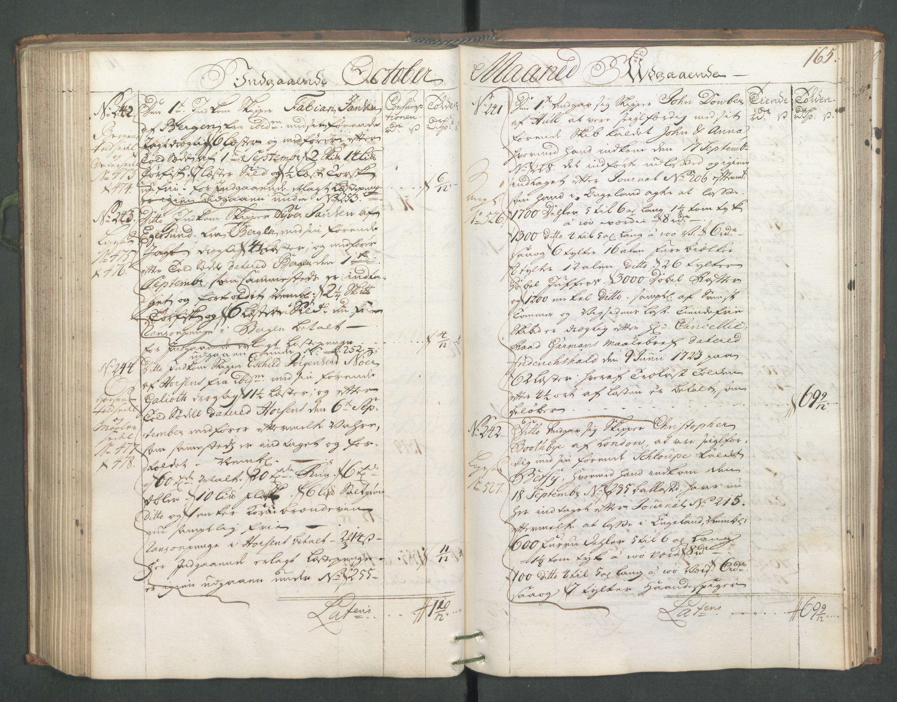 RA, Generaltollkammeret, tollregnskaper, R01/L0006: Tollregnskaper Fredrikshald, 1731, s. 165