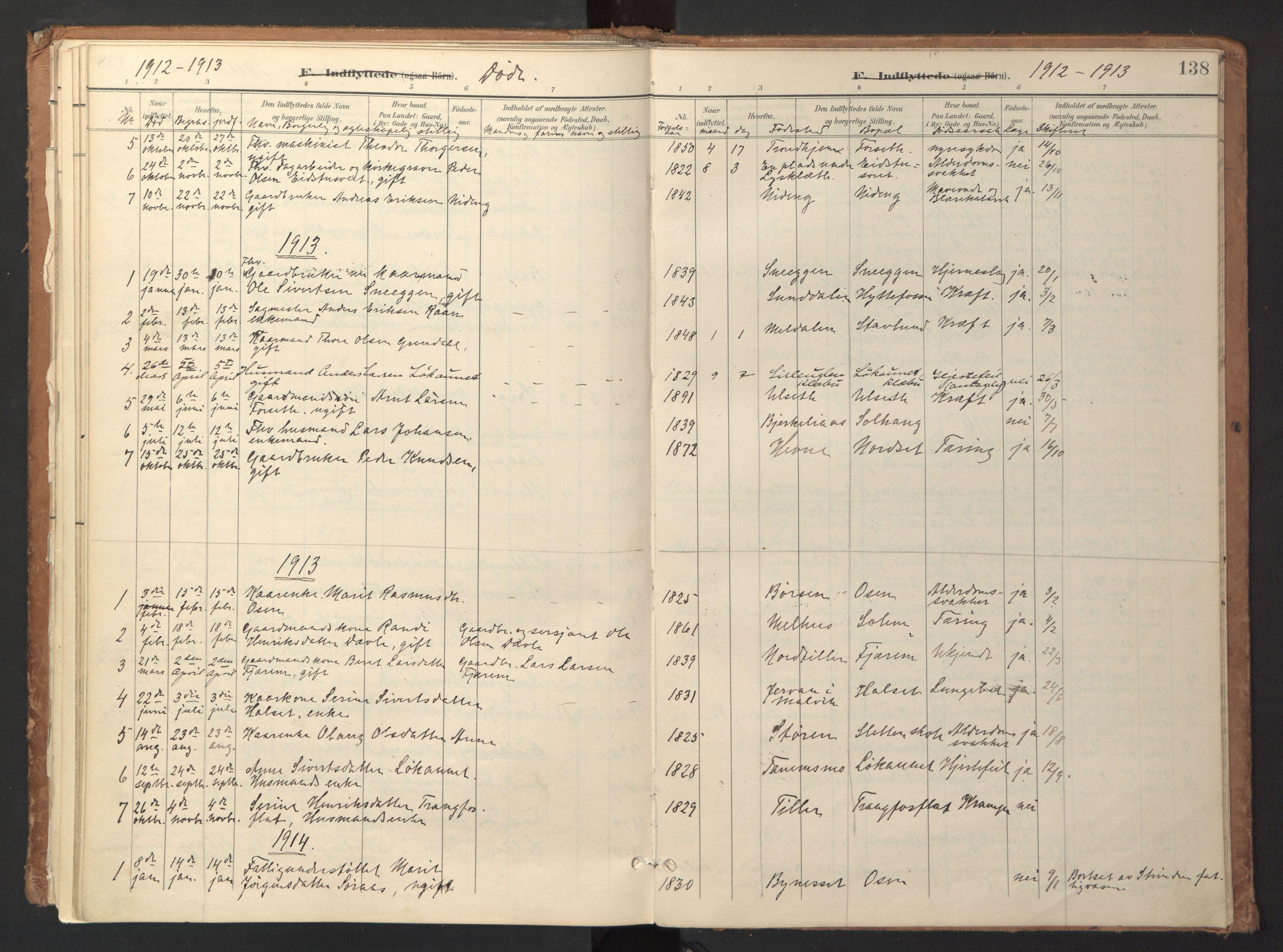 SAT, Ministerialprotokoller, klokkerbøker og fødselsregistre - Sør-Trøndelag, 618/L0448: Ministerialbok nr. 618A11, 1898-1916, s. 138