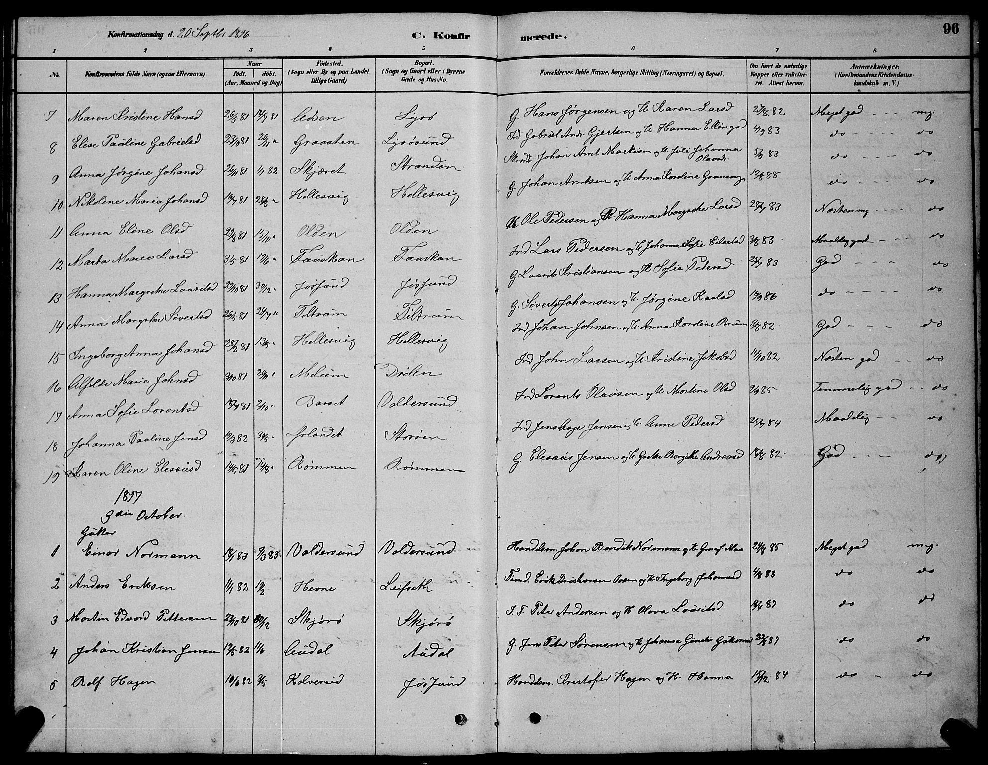 SAT, Ministerialprotokoller, klokkerbøker og fødselsregistre - Sør-Trøndelag, 654/L0665: Klokkerbok nr. 654C01, 1879-1901, s. 96