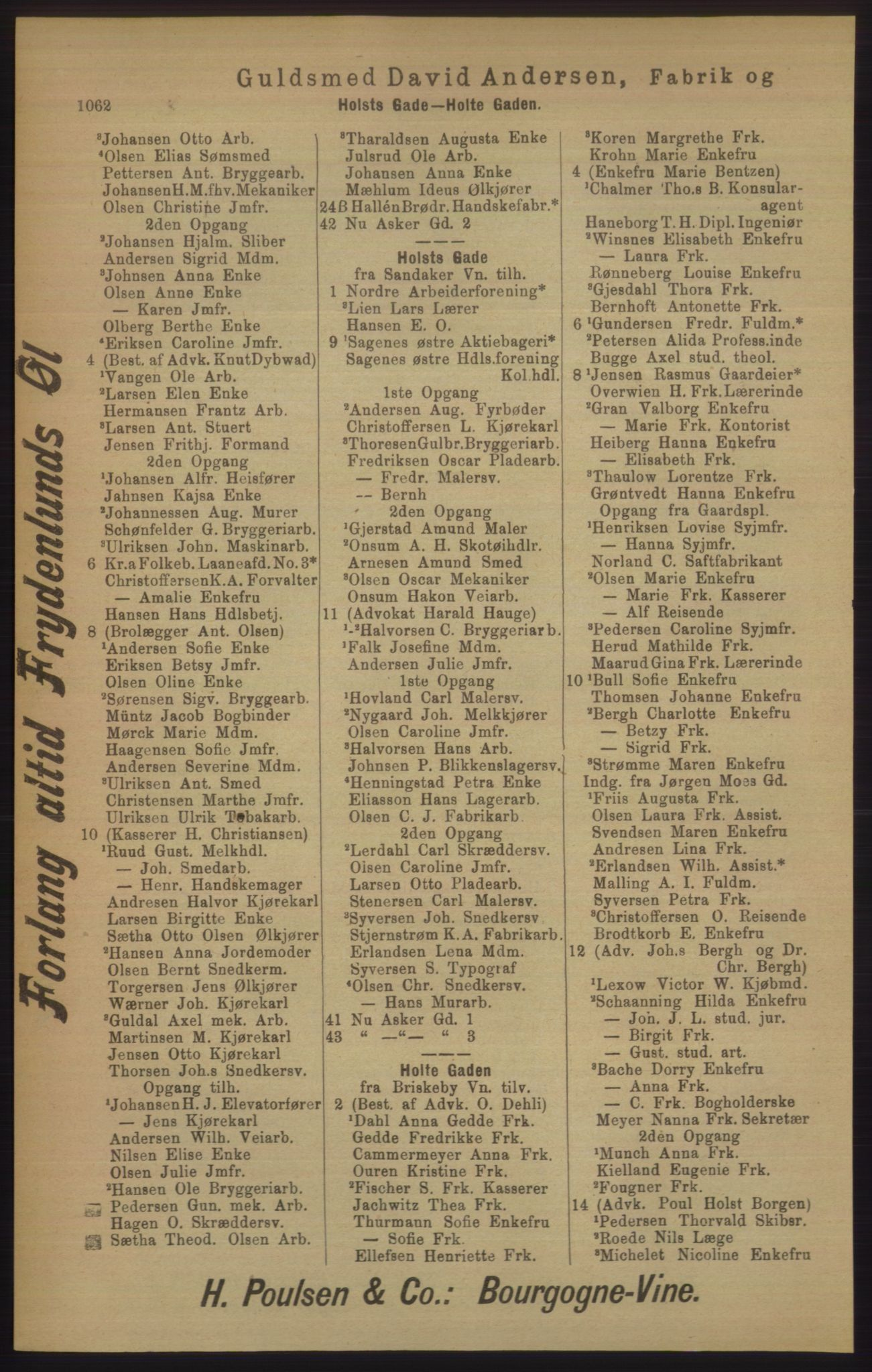 RA, Kristiania adressebok (publikasjon)*, 1906, s. 1062