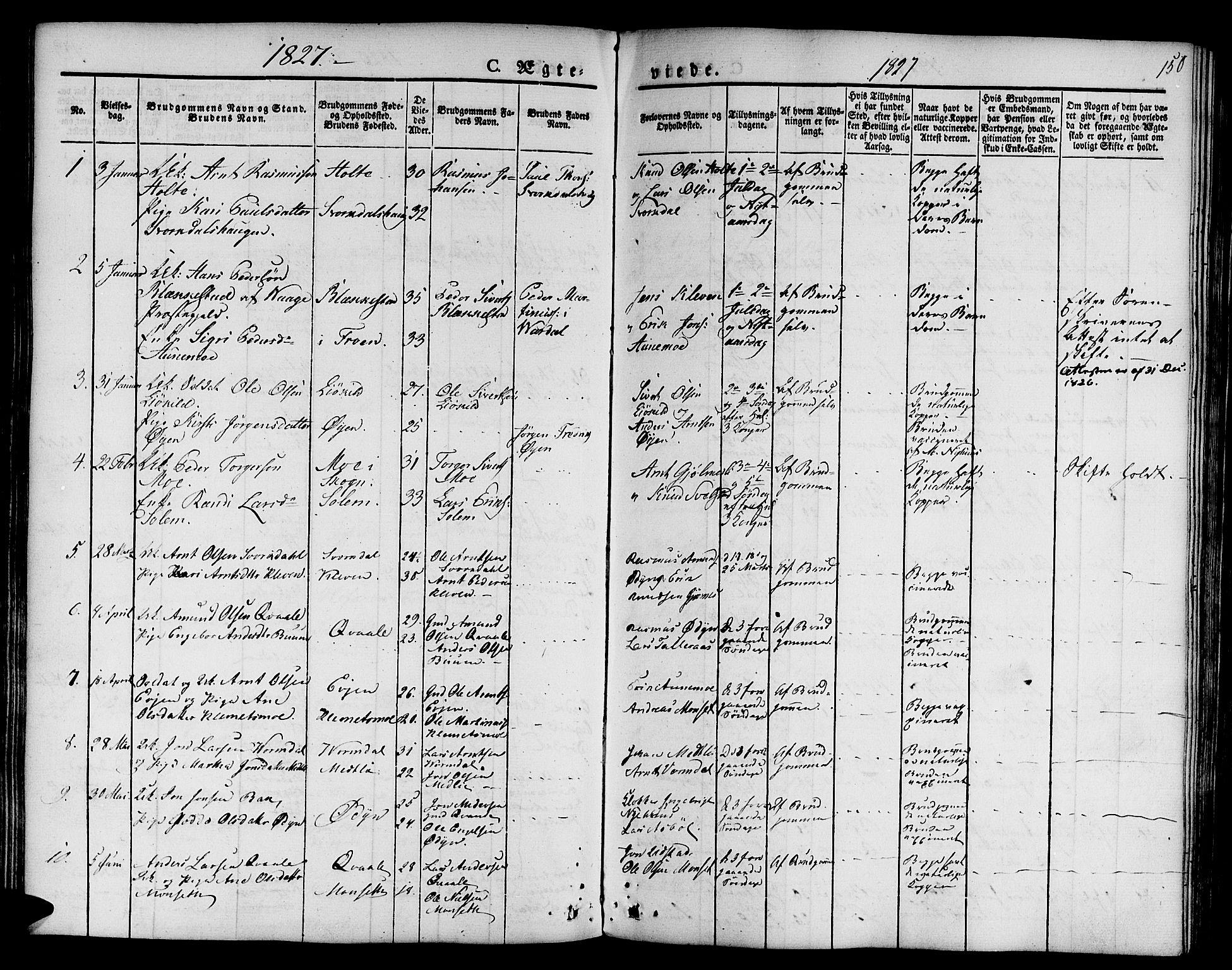 SAT, Ministerialprotokoller, klokkerbøker og fødselsregistre - Sør-Trøndelag, 668/L0804: Ministerialbok nr. 668A04, 1826-1839, s. 150