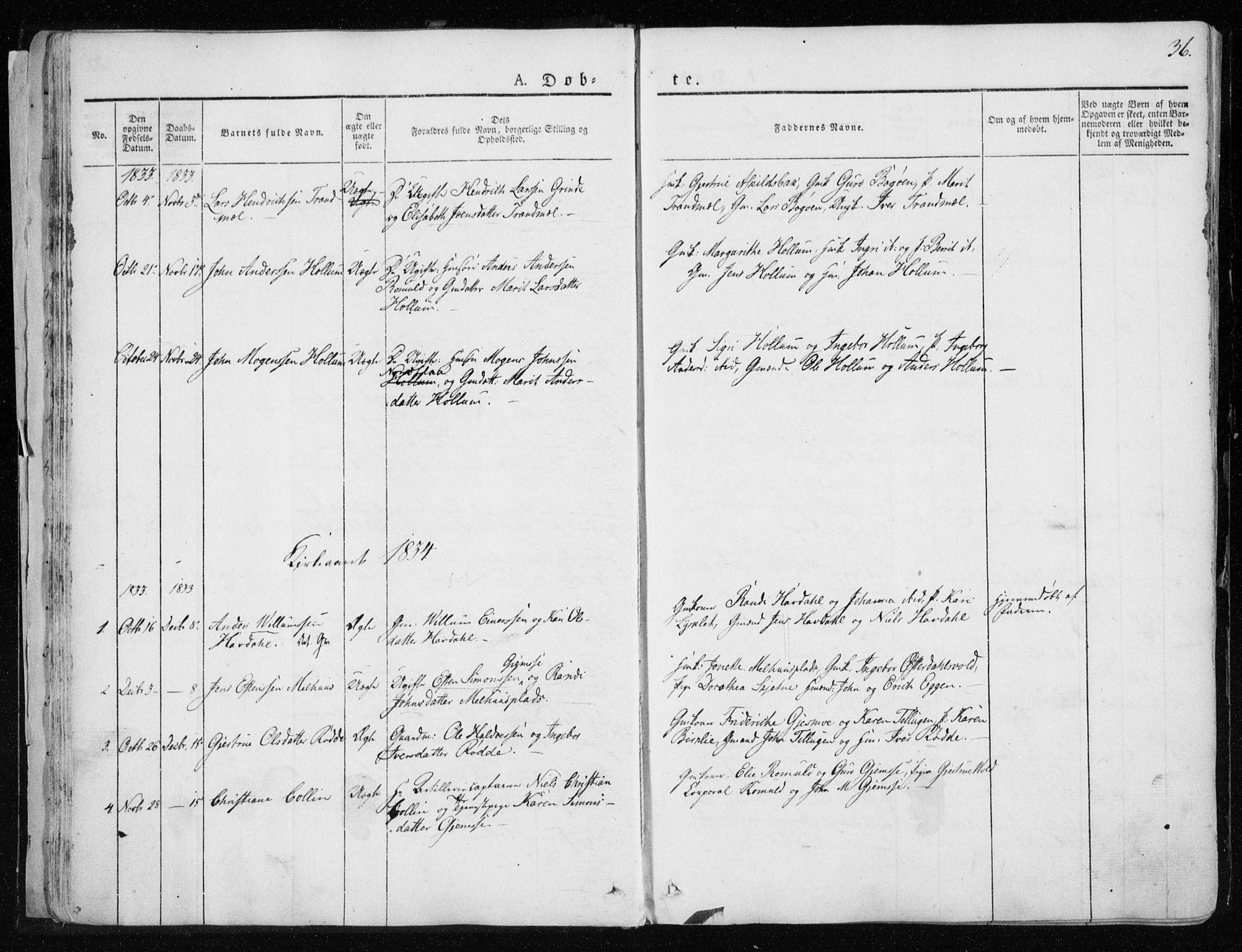 SAT, Ministerialprotokoller, klokkerbøker og fødselsregistre - Sør-Trøndelag, 691/L1069: Ministerialbok nr. 691A04, 1826-1841, s. 36