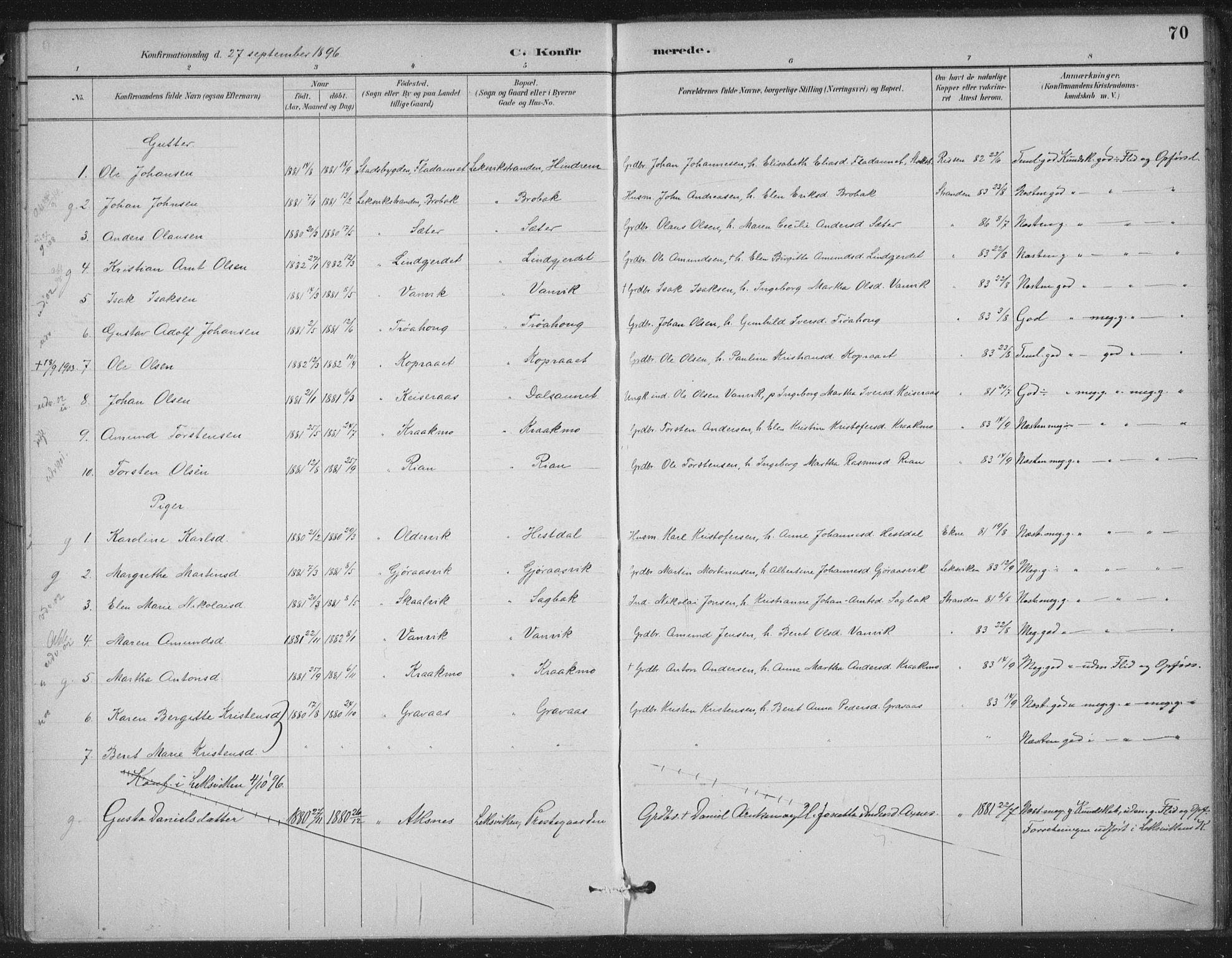 SAT, Ministerialprotokoller, klokkerbøker og fødselsregistre - Nord-Trøndelag, 702/L0023: Ministerialbok nr. 702A01, 1883-1897, s. 70