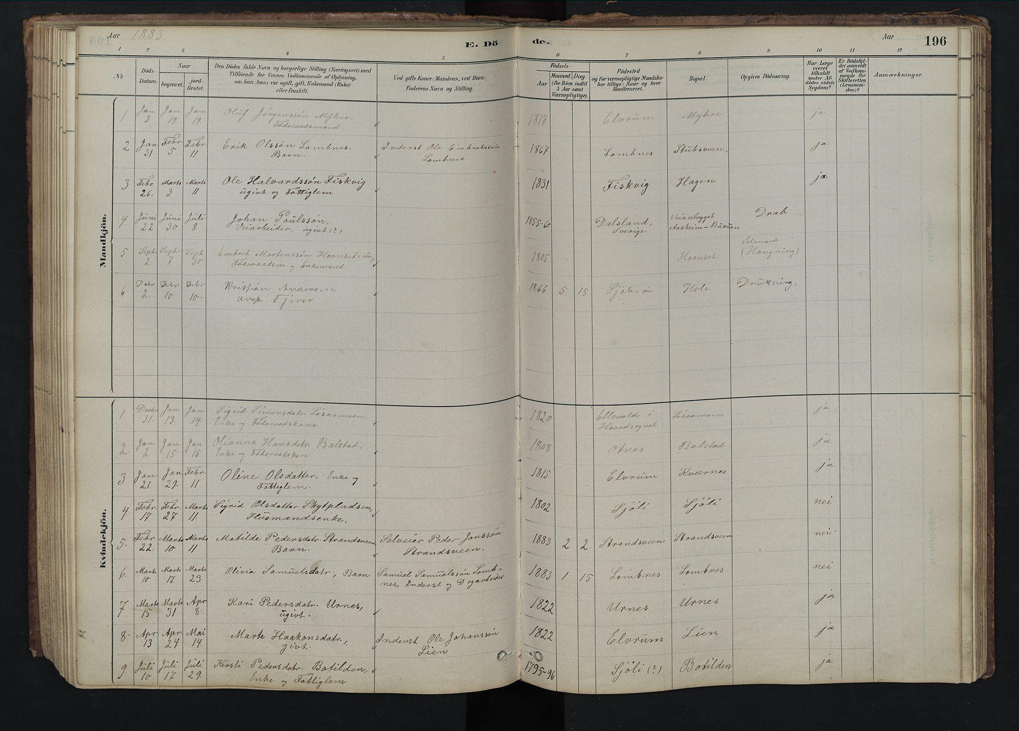 SAH, Rendalen prestekontor, H/Ha/Hab/L0009: Klokkerbok nr. 9, 1879-1902, s. 196