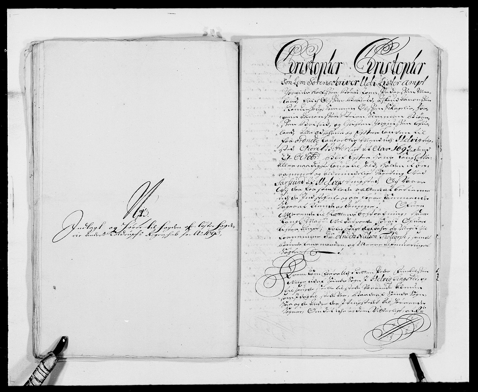 RA, Rentekammeret inntil 1814, Reviderte regnskaper, Fogderegnskap, R41/L2536: Fogderegnskap Lista, 1690-1693, s. 493