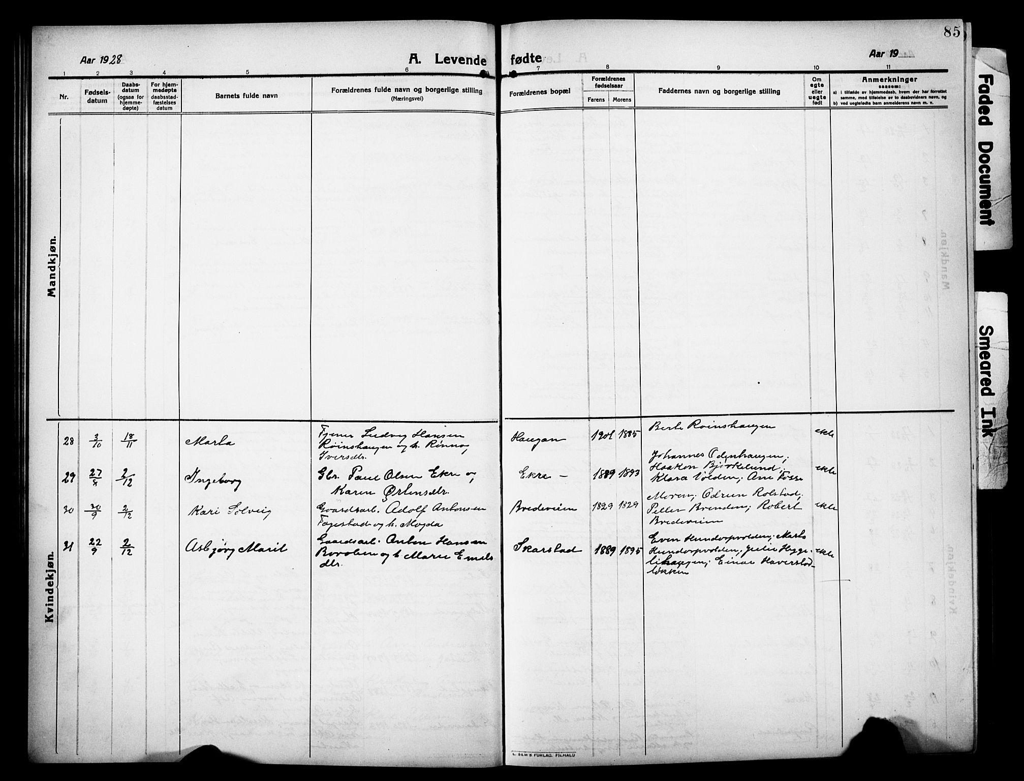SAH, Sør-Fron prestekontor, H/Ha/Hab/L0005: Klokkerbok nr. 5, 1912-1930, s. 85