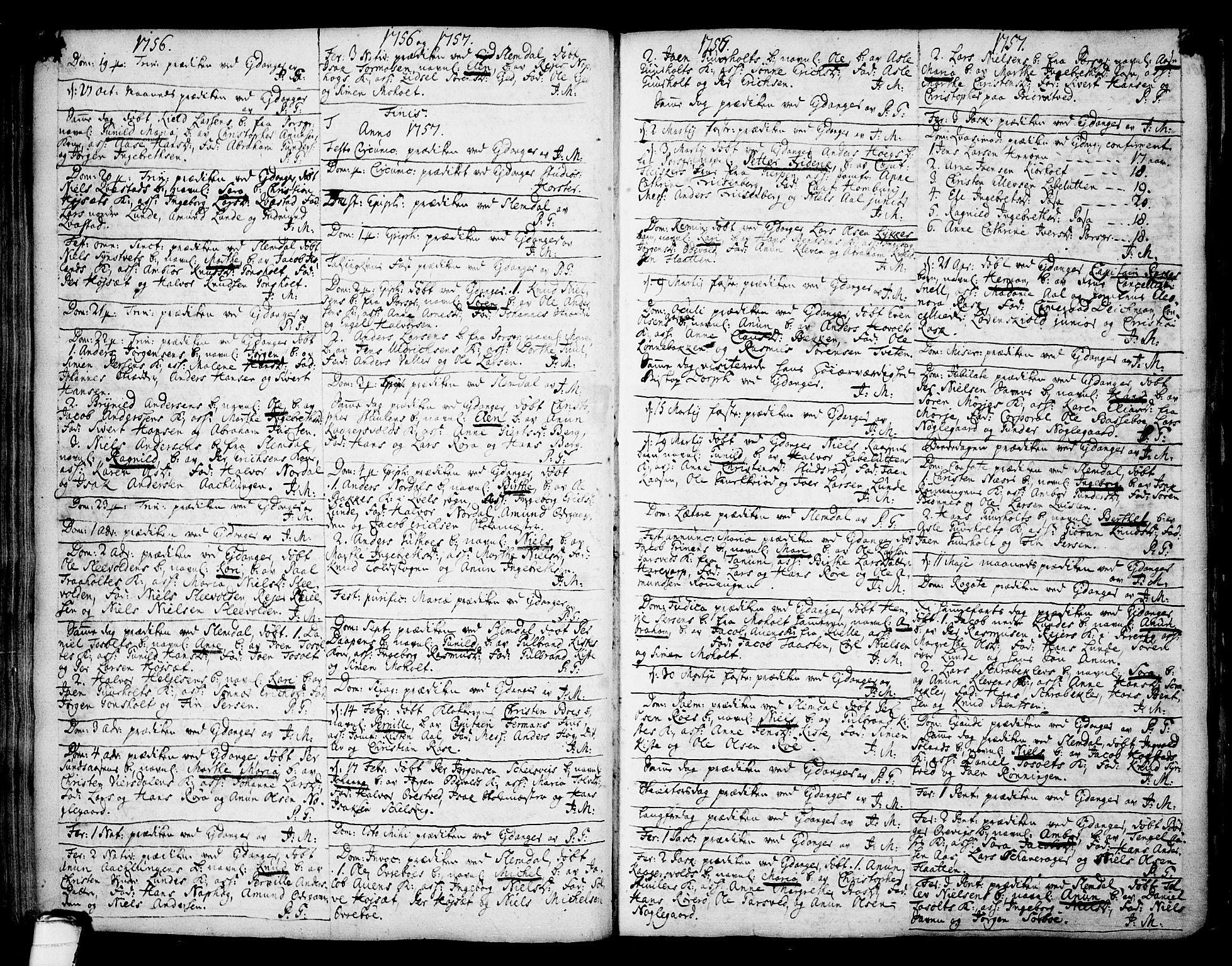 SAKO, Eidanger kirkebøker, F/Fa/L0004: Ministerialbok nr. 4, 1733-1759, s. 184-185
