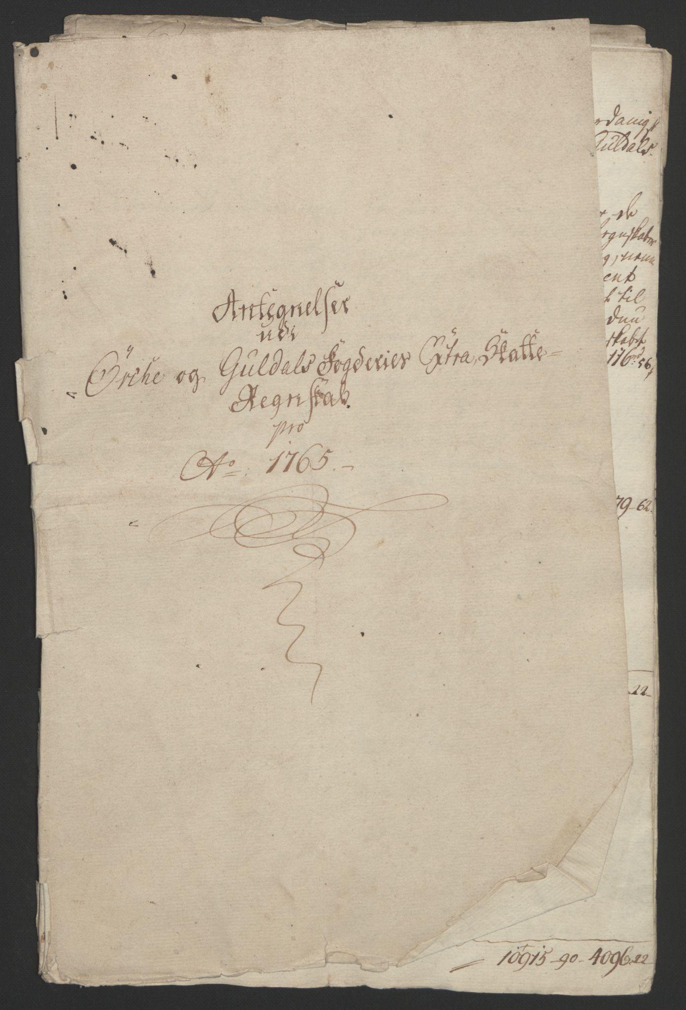 RA, Rentekammeret inntil 1814, Reviderte regnskaper, Fogderegnskap, R60/L4094: Ekstraskatten Orkdal og Gauldal, 1762-1765, s. 289