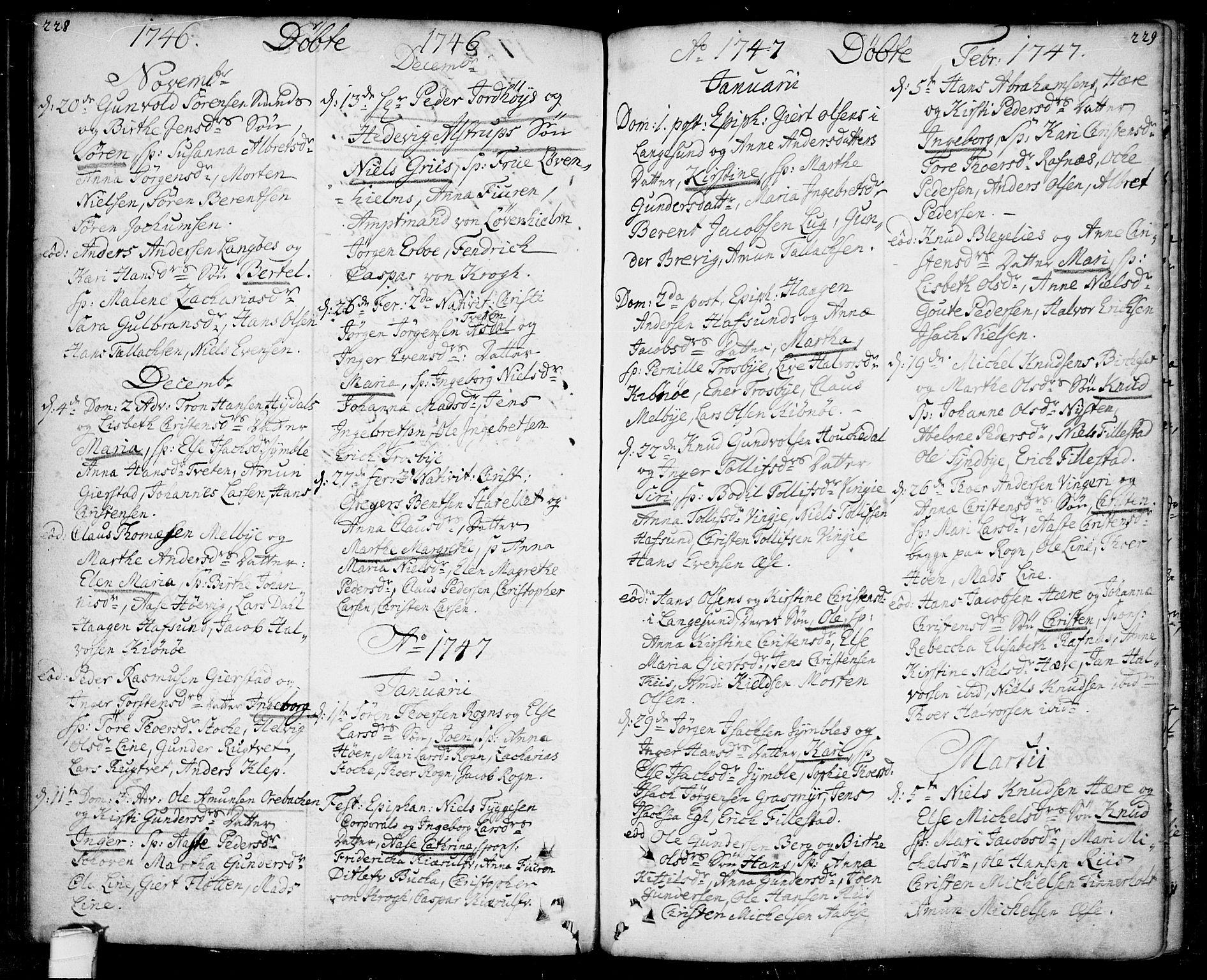 SAKO, Bamble kirkebøker, F/Fa/L0001: Ministerialbok nr. I 1, 1702-1774, s. 228-229