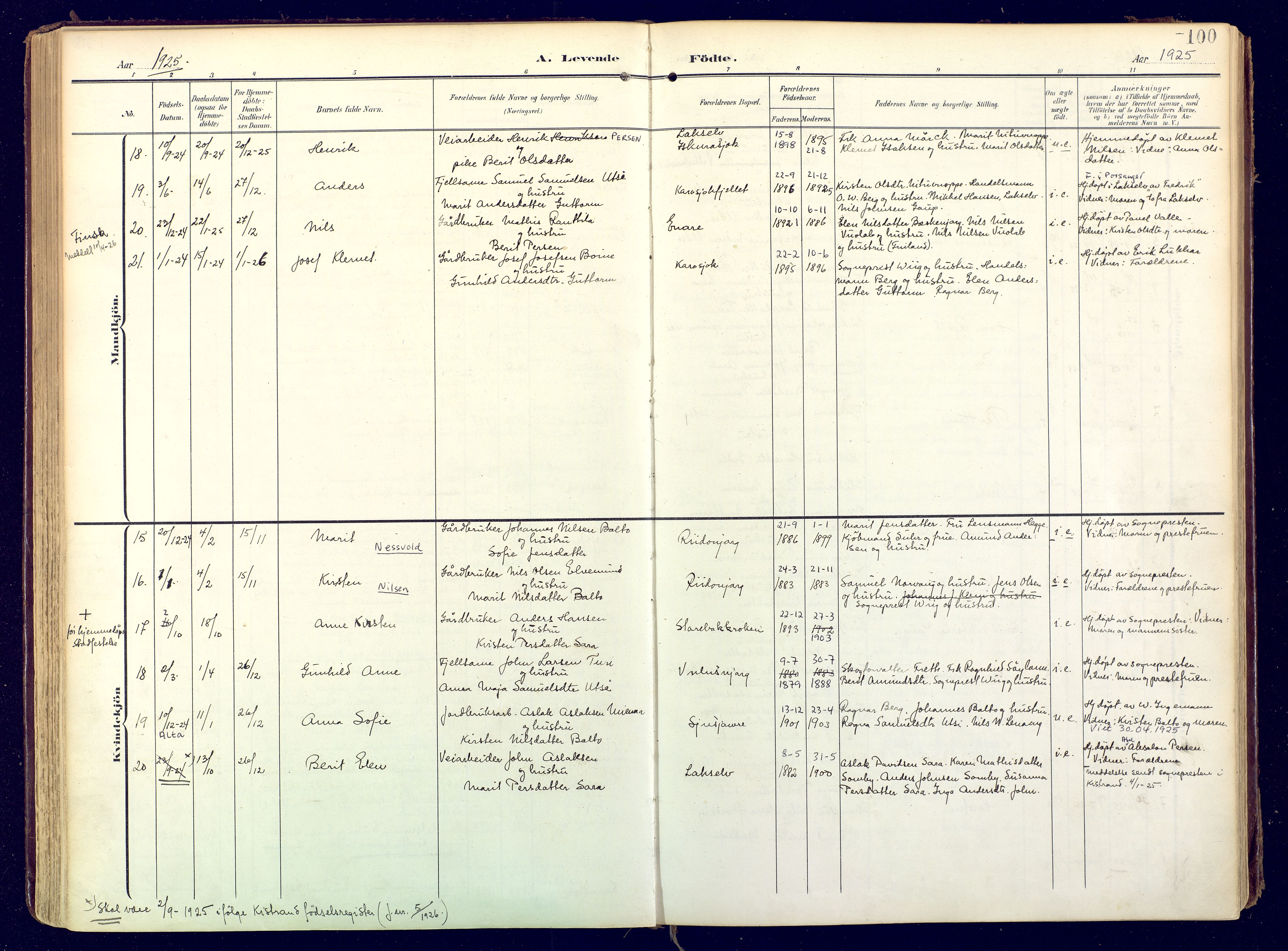 SATØ, Karasjok sokneprestkontor, H/Ha: Ministerialbok nr. 3, 1907-1926, s. 100