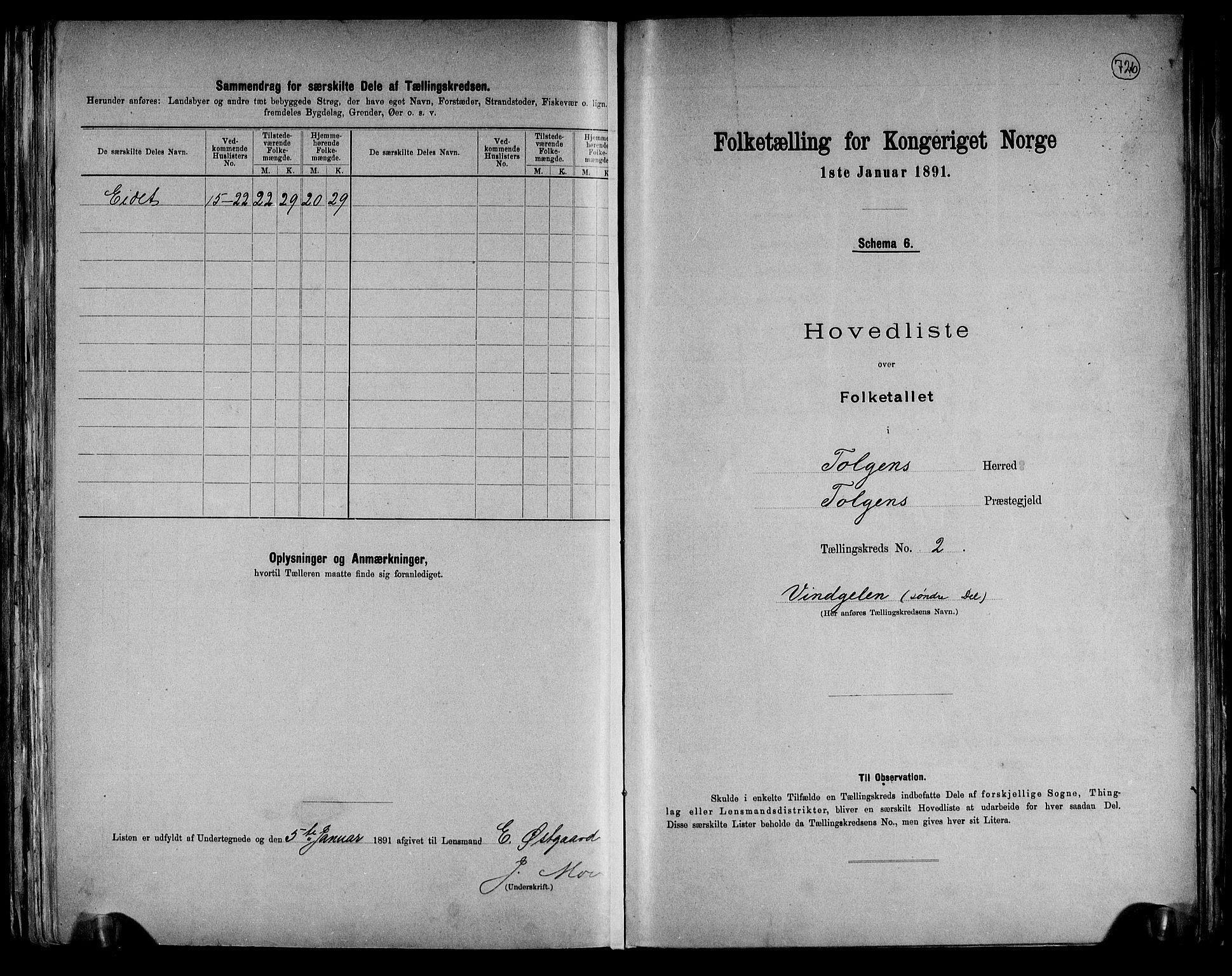RA, Folketelling 1891 for 0436 Tolga herred, 1891, s. 11