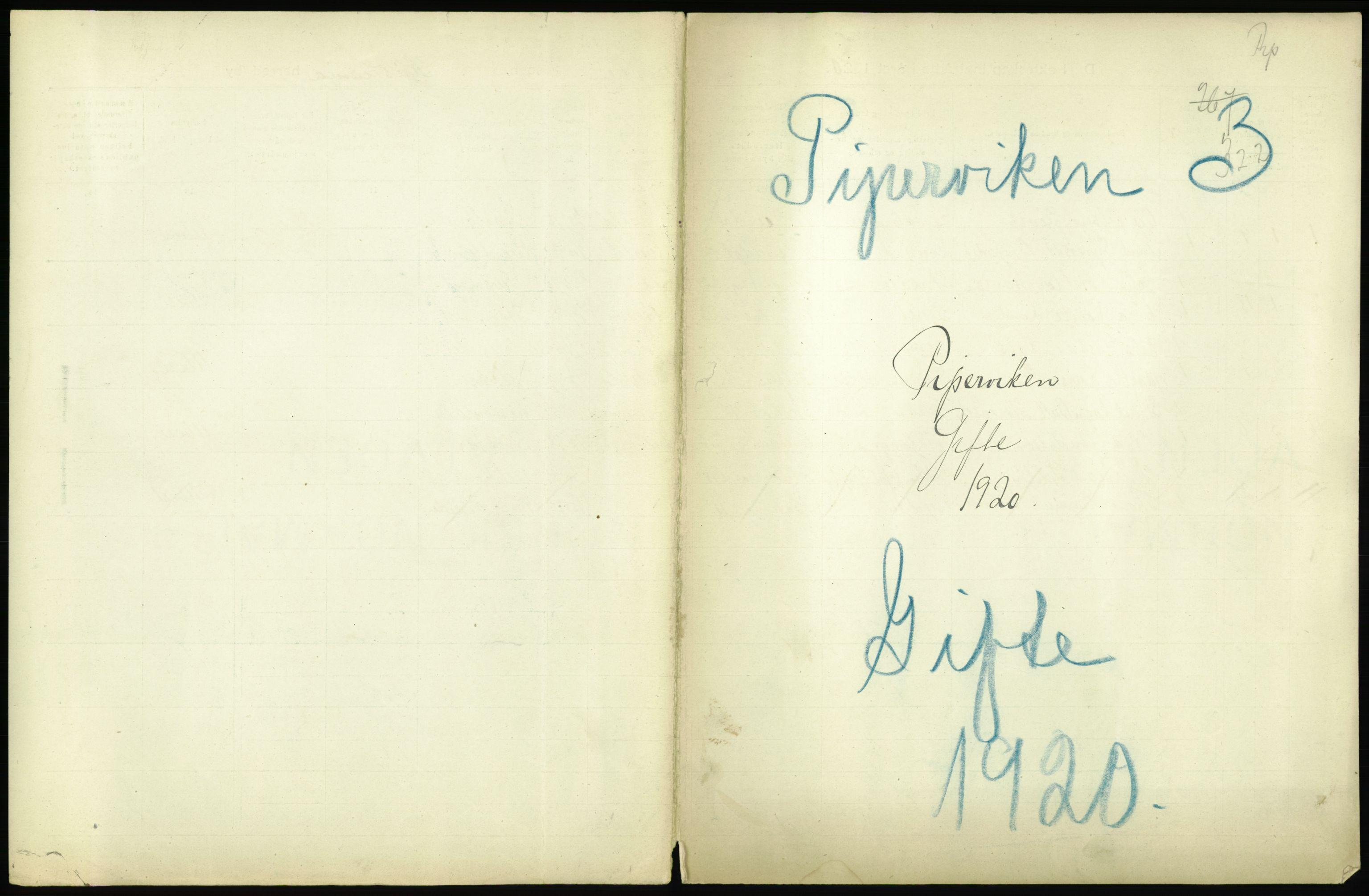 RA, Statistisk sentralbyrå, Sosiodemografiske emner, Befolkning, D/Df/Dfb/Dfbj/L0012: Kristiania: Gifte, 1920