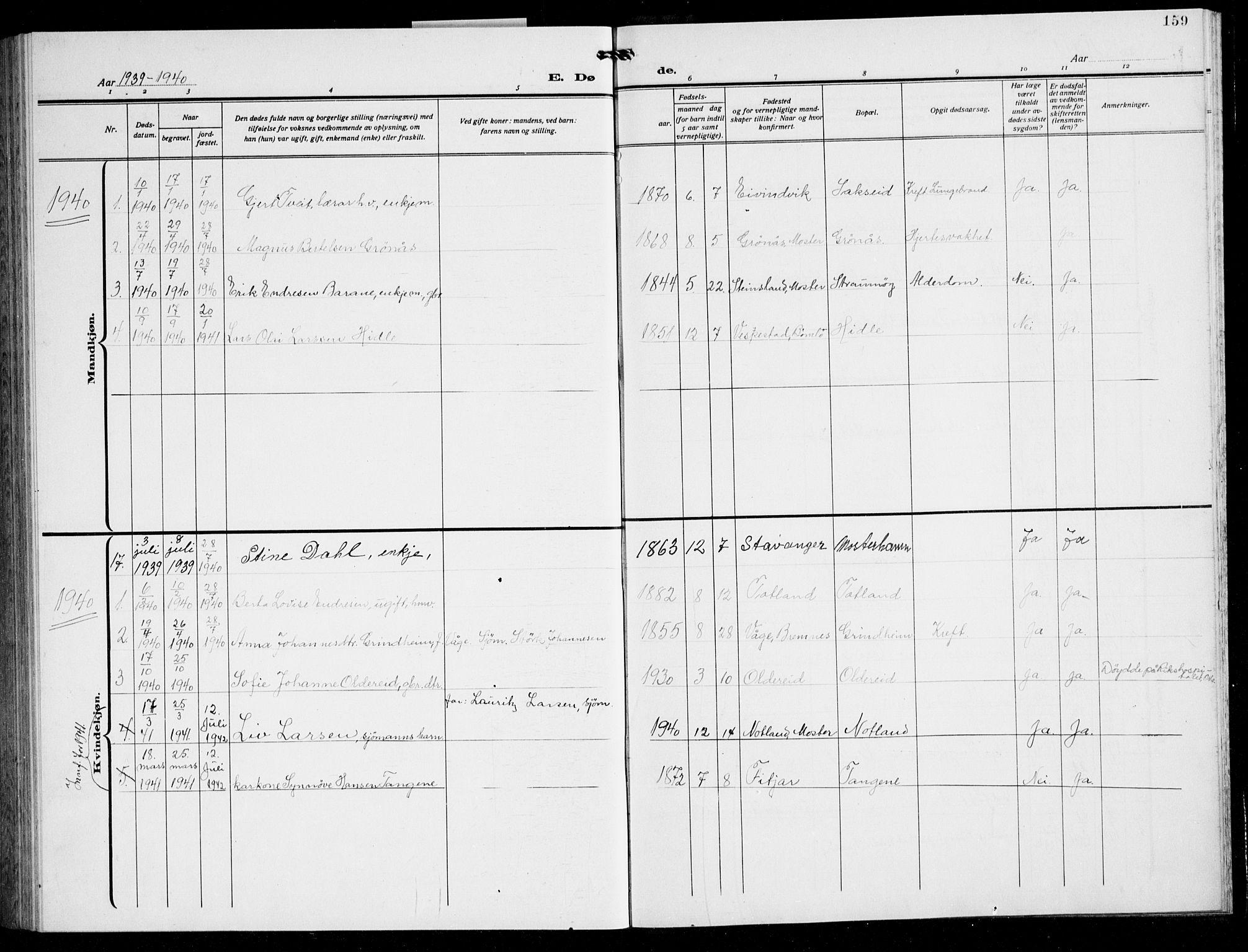 SAB, Finnås sokneprestembete, H/Ha/Hab/Haba/L0005: Klokkerbok nr. A 5, 1924-1945, s. 159