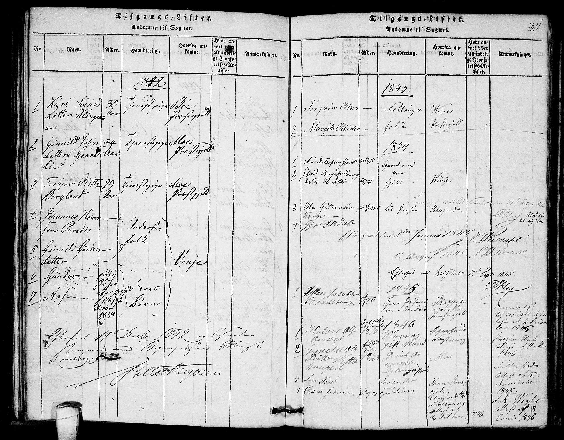 SAKO, Lårdal kirkebøker, G/Gb/L0001: Klokkerbok nr. II 1, 1815-1865, s. 311