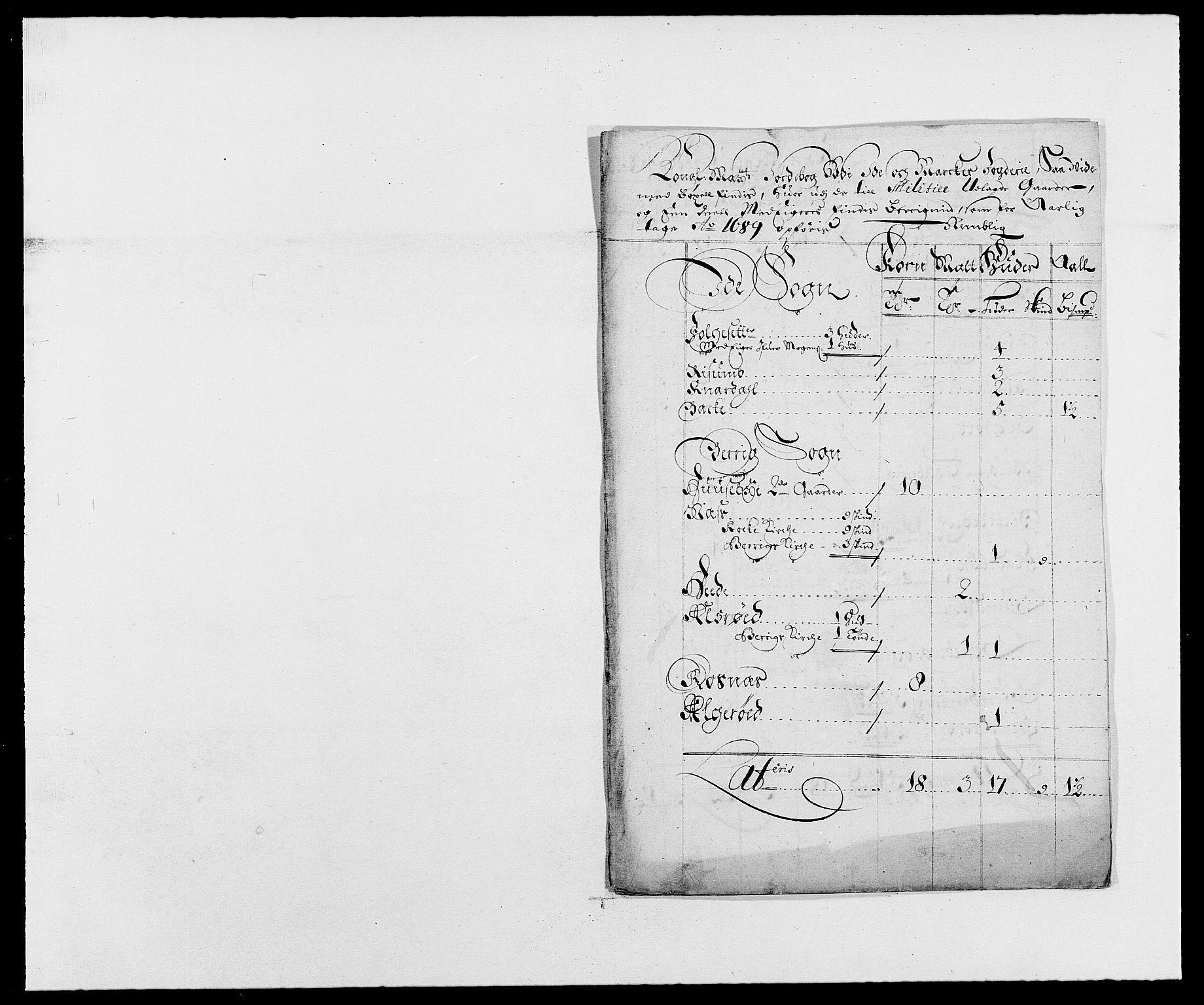 RA, Rentekammeret inntil 1814, Reviderte regnskaper, Fogderegnskap, R01/L0008: Fogderegnskap Idd og Marker, 1689, s. 87