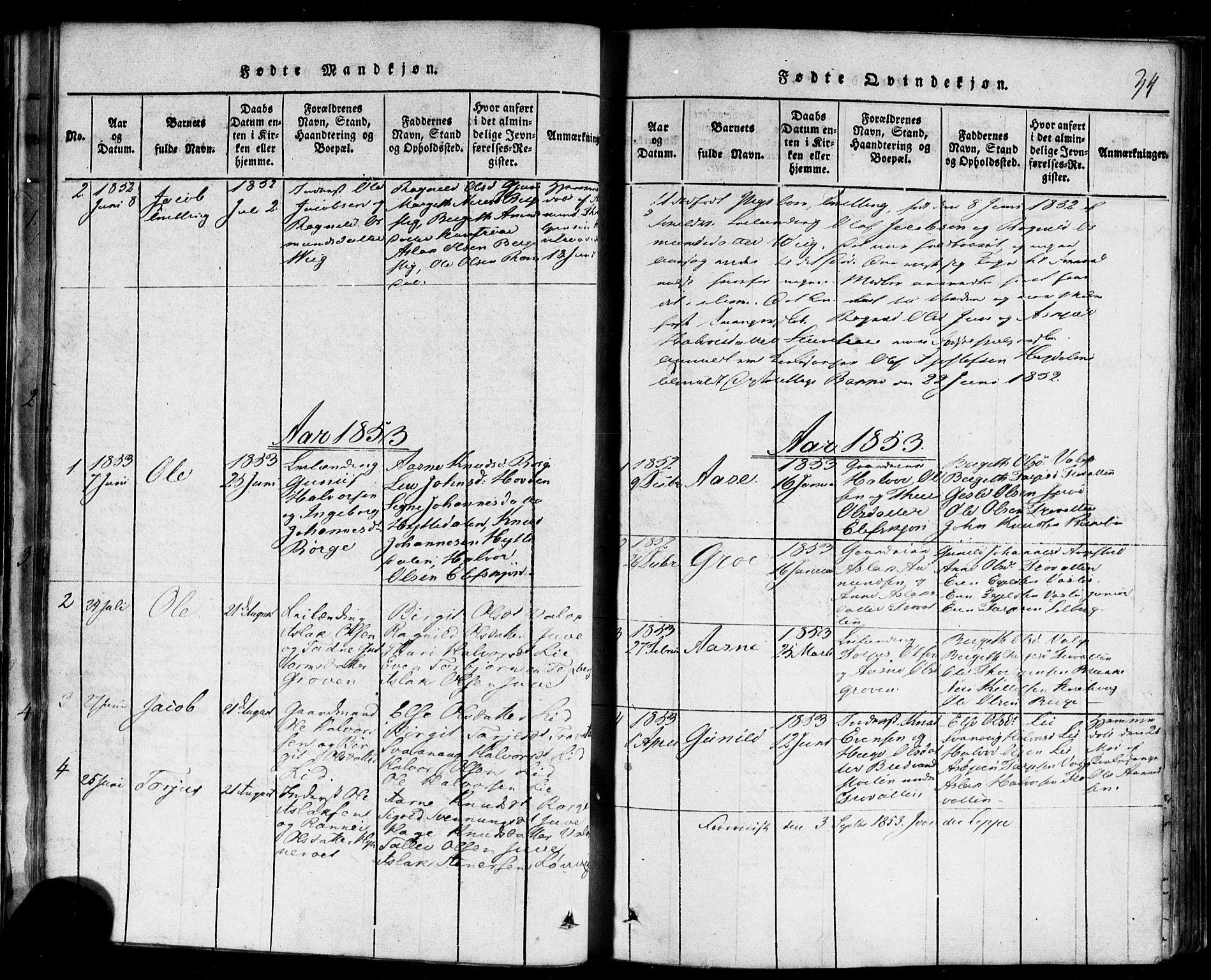 SAKO, Rauland kirkebøker, F/Fa/L0002: Ministerialbok nr. 2, 1815-1860, s. 34