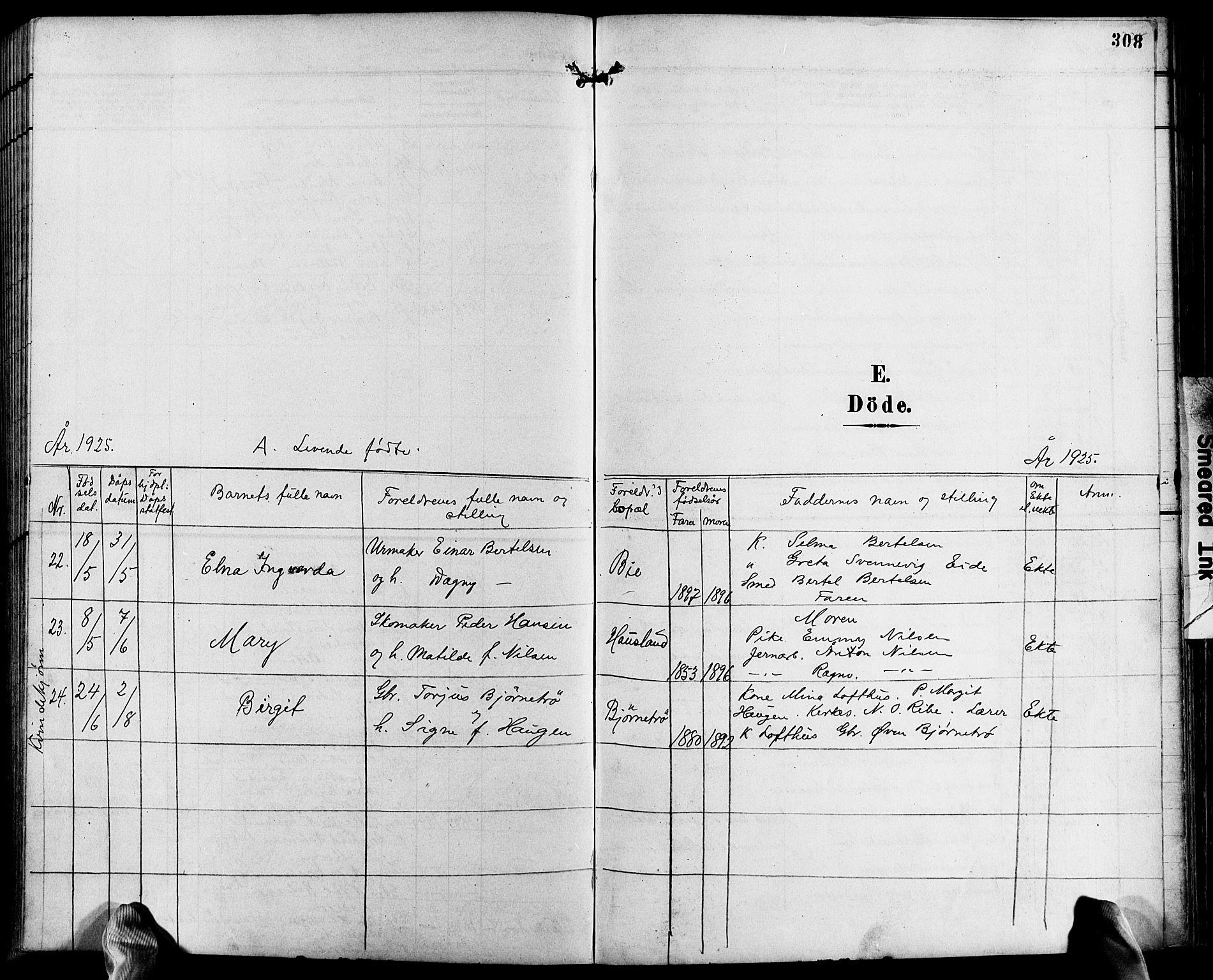 SAK, Fjære sokneprestkontor, F/Fb/L0012: Klokkerbok nr. B 12, 1902-1925, s. 308