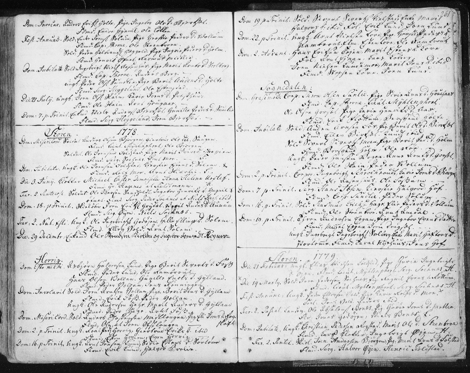 SAT, Ministerialprotokoller, klokkerbøker og fødselsregistre - Sør-Trøndelag, 687/L0991: Ministerialbok nr. 687A02, 1747-1790, s. 261