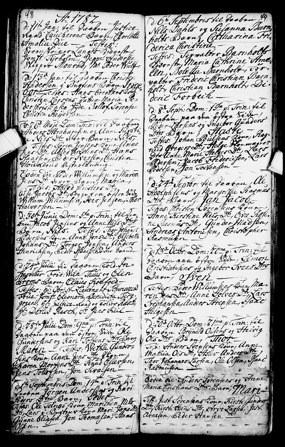 SAKO, Porsgrunn kirkebøker , G/Ga/L0001: Klokkerbok nr. I 1, 1766-1790, s. 48-49