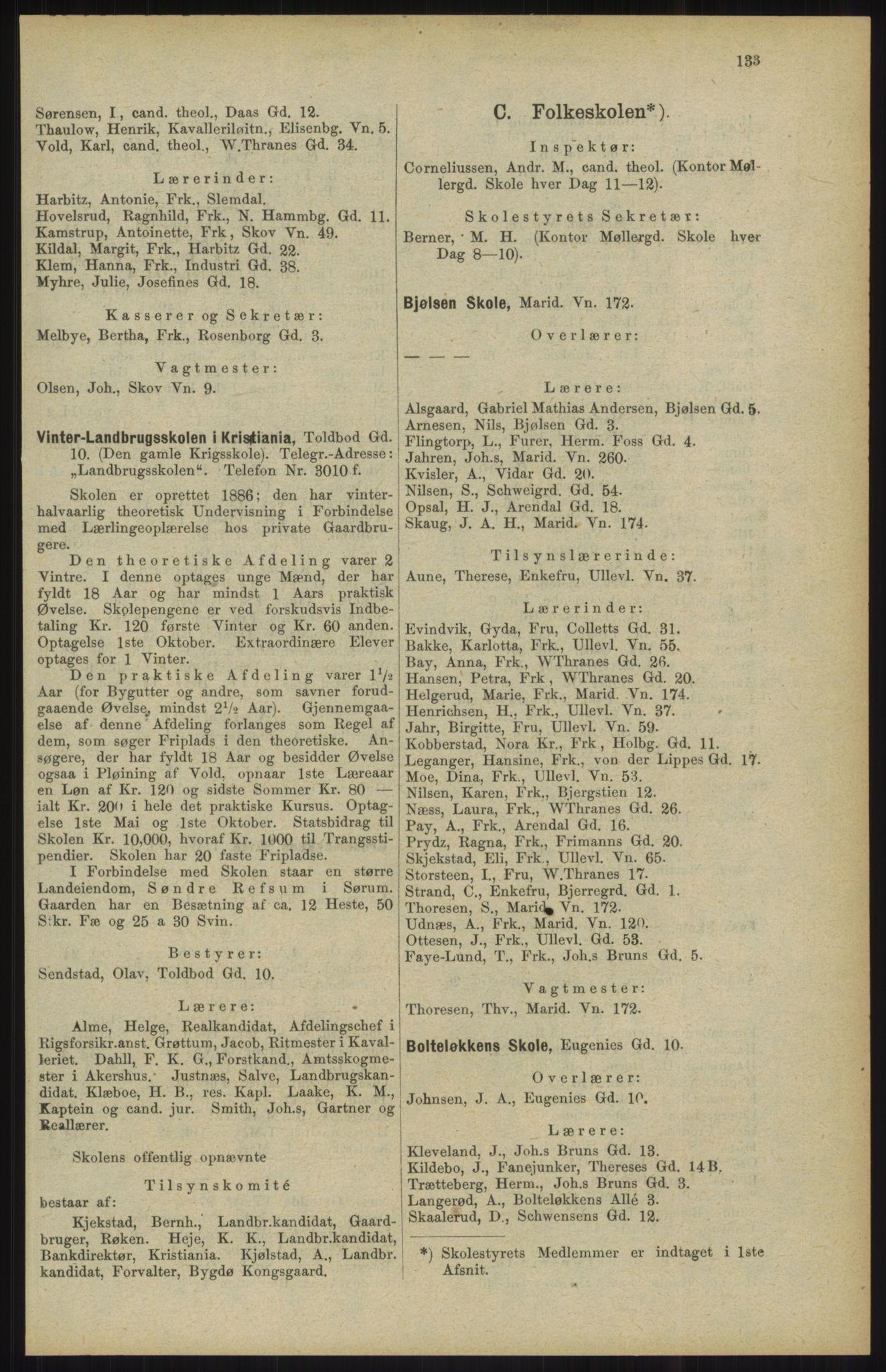 RA, Kristiania adressebok (publikasjon)*, 1904, s. 133