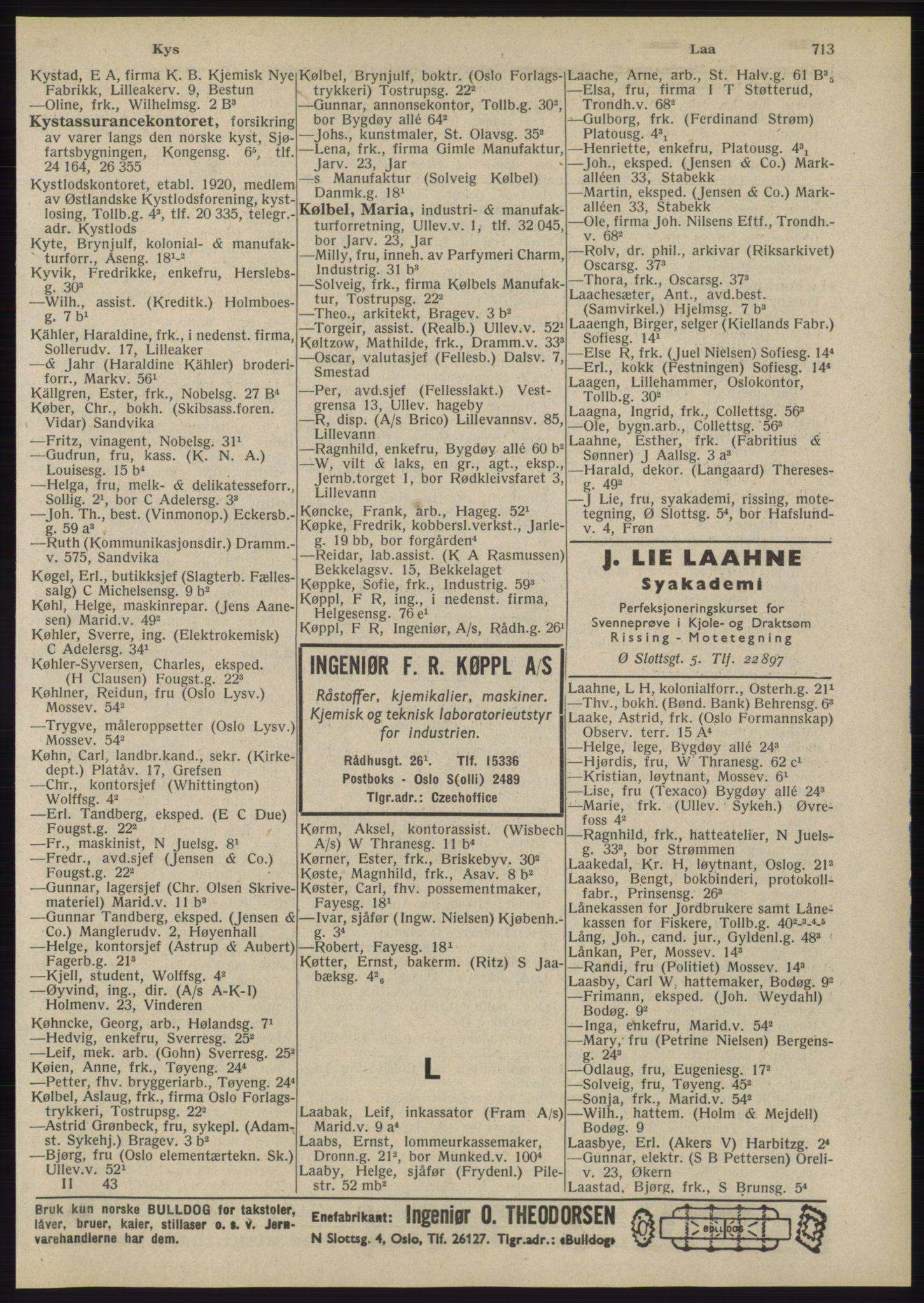 RA, Oslo adressebok (publikasjon)*, 1945, s. 713