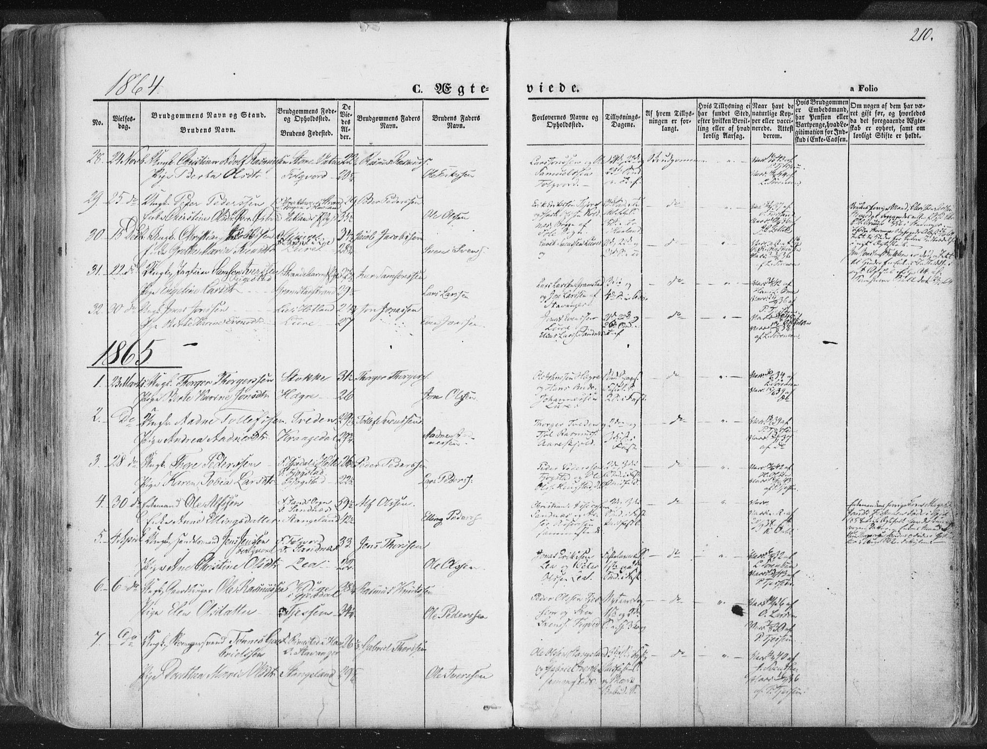 SAST, Høyland sokneprestkontor, 30BA/L0010: Ministerialbok nr. A 9.1, 1857-1877, s. 210