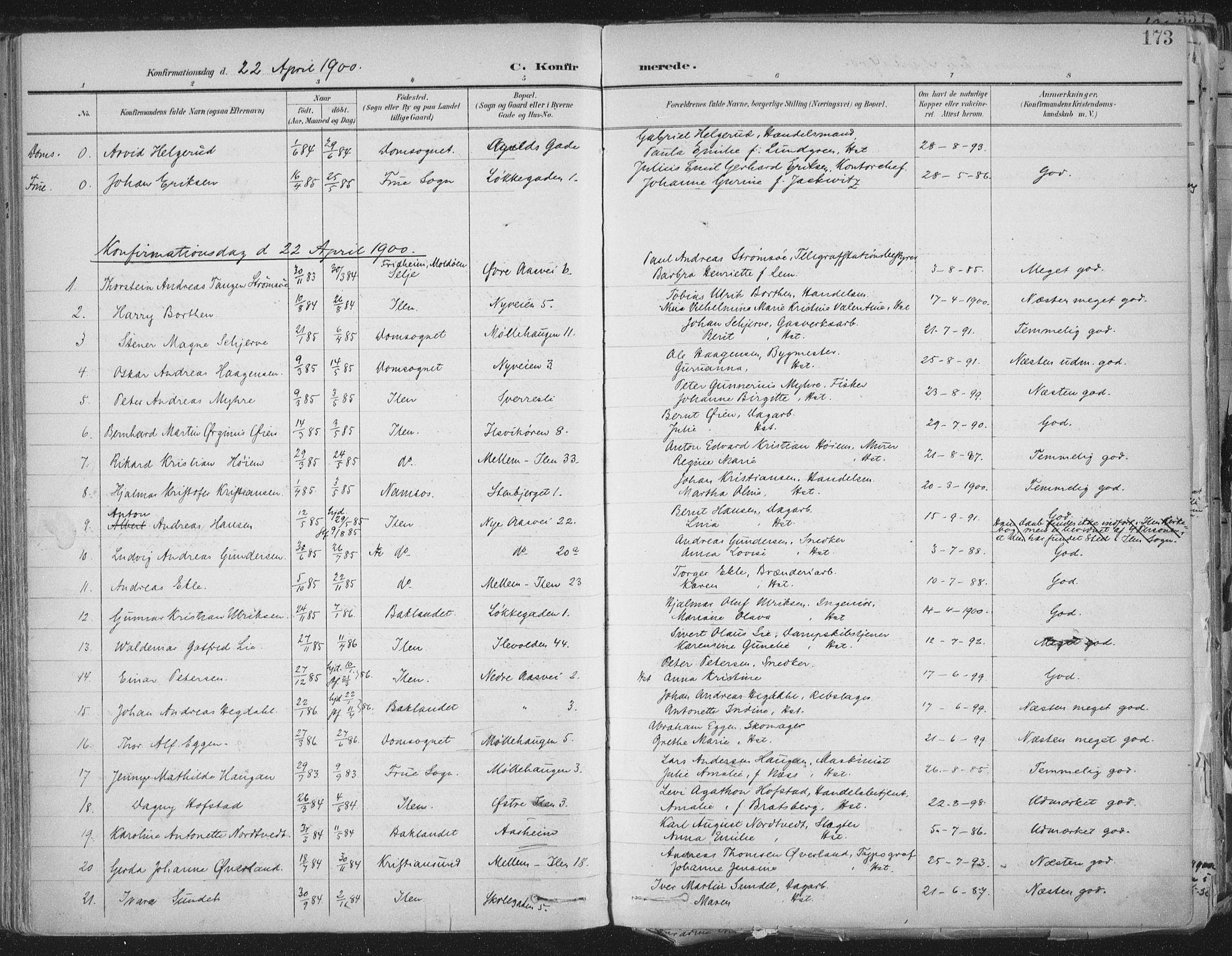 SAT, Ministerialprotokoller, klokkerbøker og fødselsregistre - Sør-Trøndelag, 603/L0167: Ministerialbok nr. 603A06, 1896-1932, s. 173