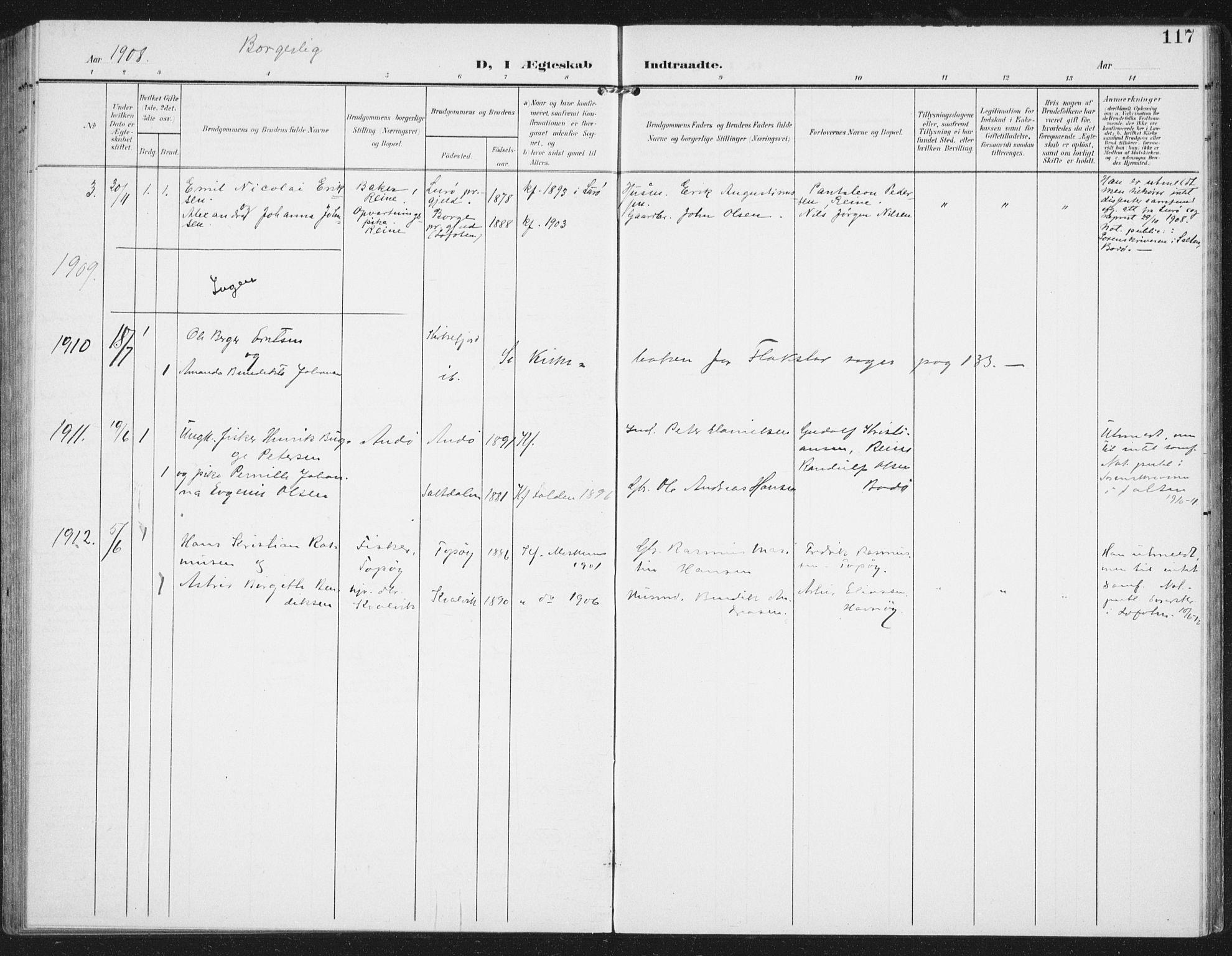 SAT, Ministerialprotokoller, klokkerbøker og fødselsregistre - Nordland, 886/L1221: Ministerialbok nr. 886A03, 1903-1913, s. 117