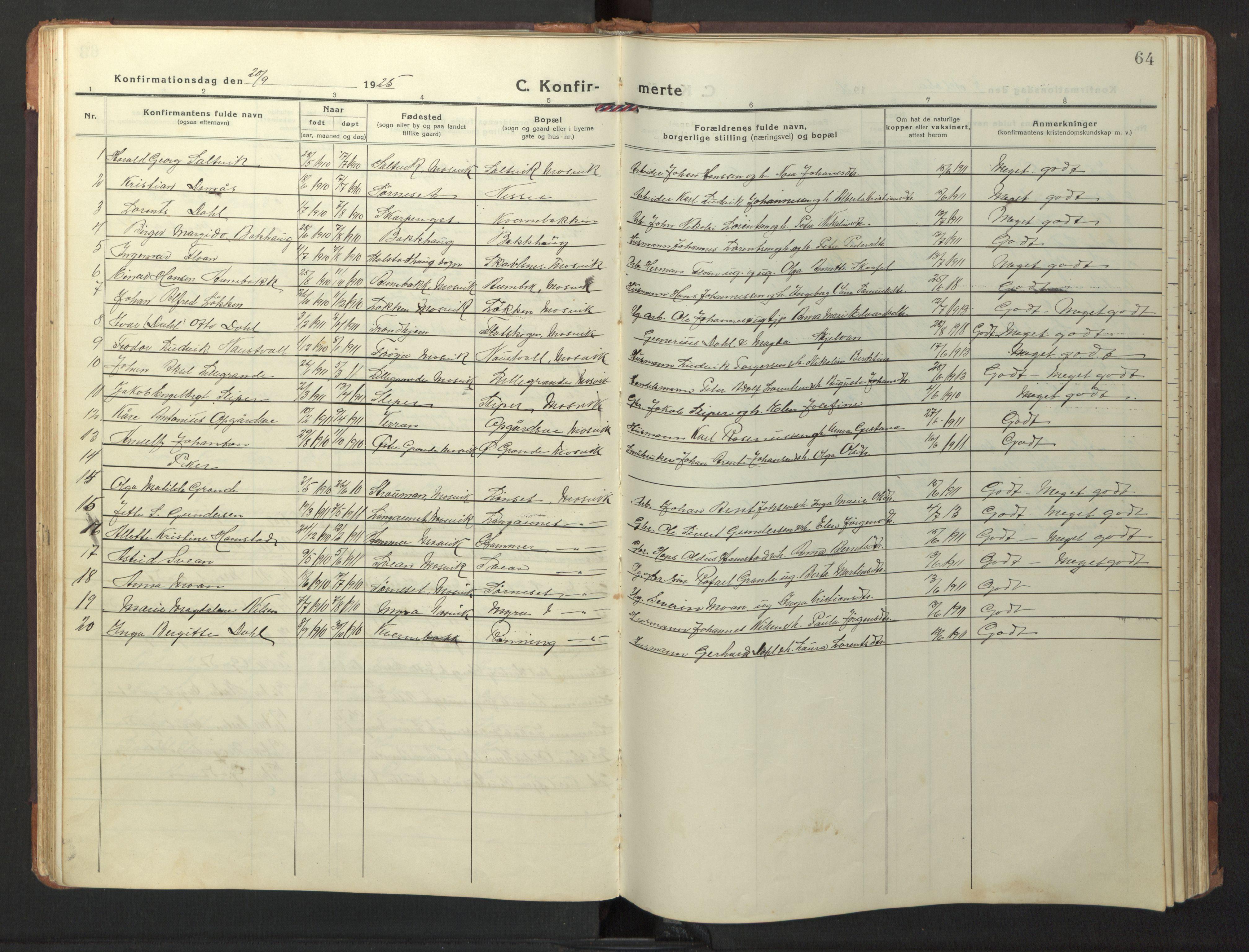SAT, Ministerialprotokoller, klokkerbøker og fødselsregistre - Nord-Trøndelag, 733/L0328: Klokkerbok nr. 733C03, 1919-1966, s. 64