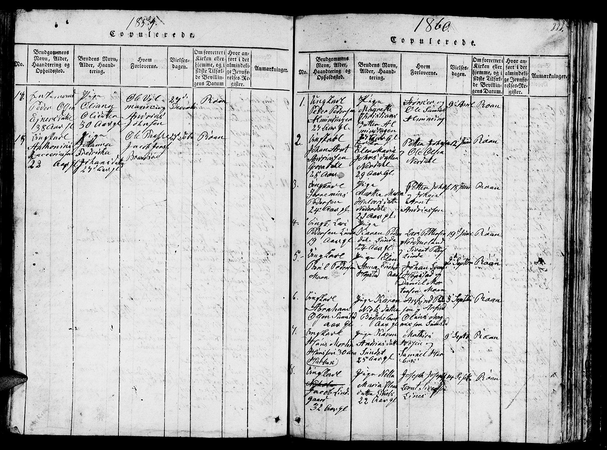 SAT, Ministerialprotokoller, klokkerbøker og fødselsregistre - Sør-Trøndelag, 657/L0714: Klokkerbok nr. 657C01, 1818-1868, s. 222