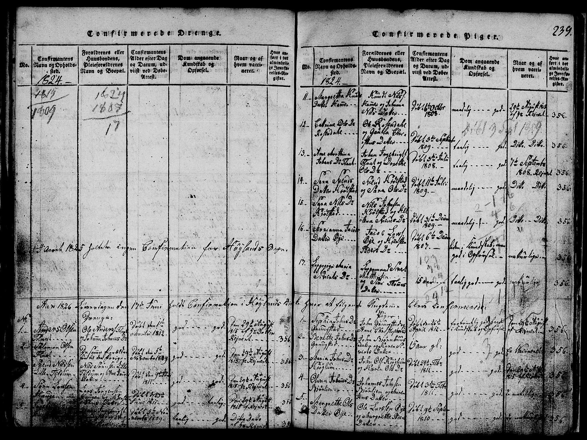 SAT, Ministerialprotokoller, klokkerbøker og fødselsregistre - Nord-Trøndelag, 765/L0562: Klokkerbok nr. 765C01, 1817-1851, s. 239