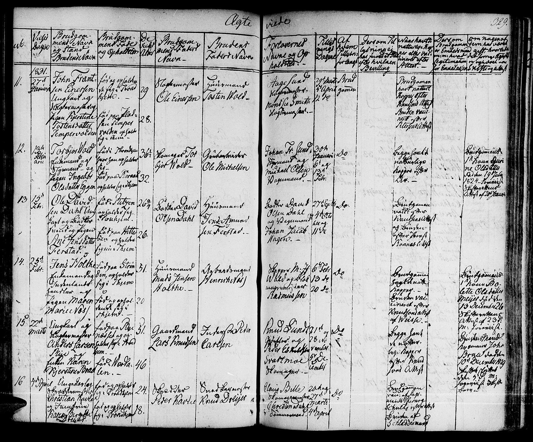 SAT, Ministerialprotokoller, klokkerbøker og fødselsregistre - Sør-Trøndelag, 601/L0045: Ministerialbok nr. 601A13, 1821-1831, s. 329