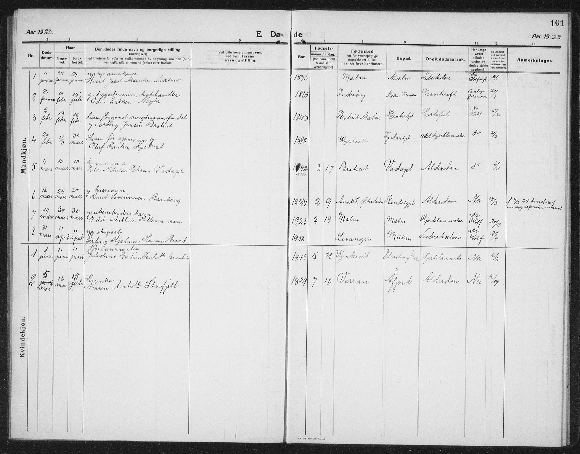 SAT, Ministerialprotokoller, klokkerbøker og fødselsregistre - Nord-Trøndelag, 745/L0434: Klokkerbok nr. 745C03, 1914-1937, s. 161