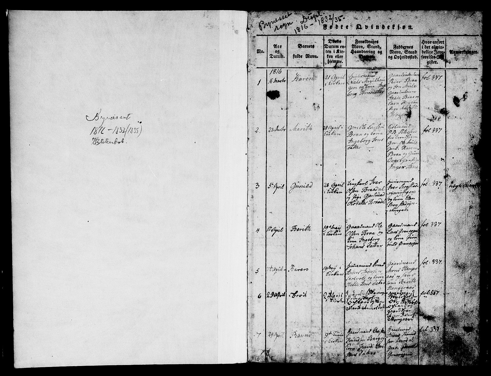 SAT, Ministerialprotokoller, klokkerbøker og fødselsregistre - Sør-Trøndelag, 612/L0385: Klokkerbok nr. 612C01, 1816-1845, s. 1
