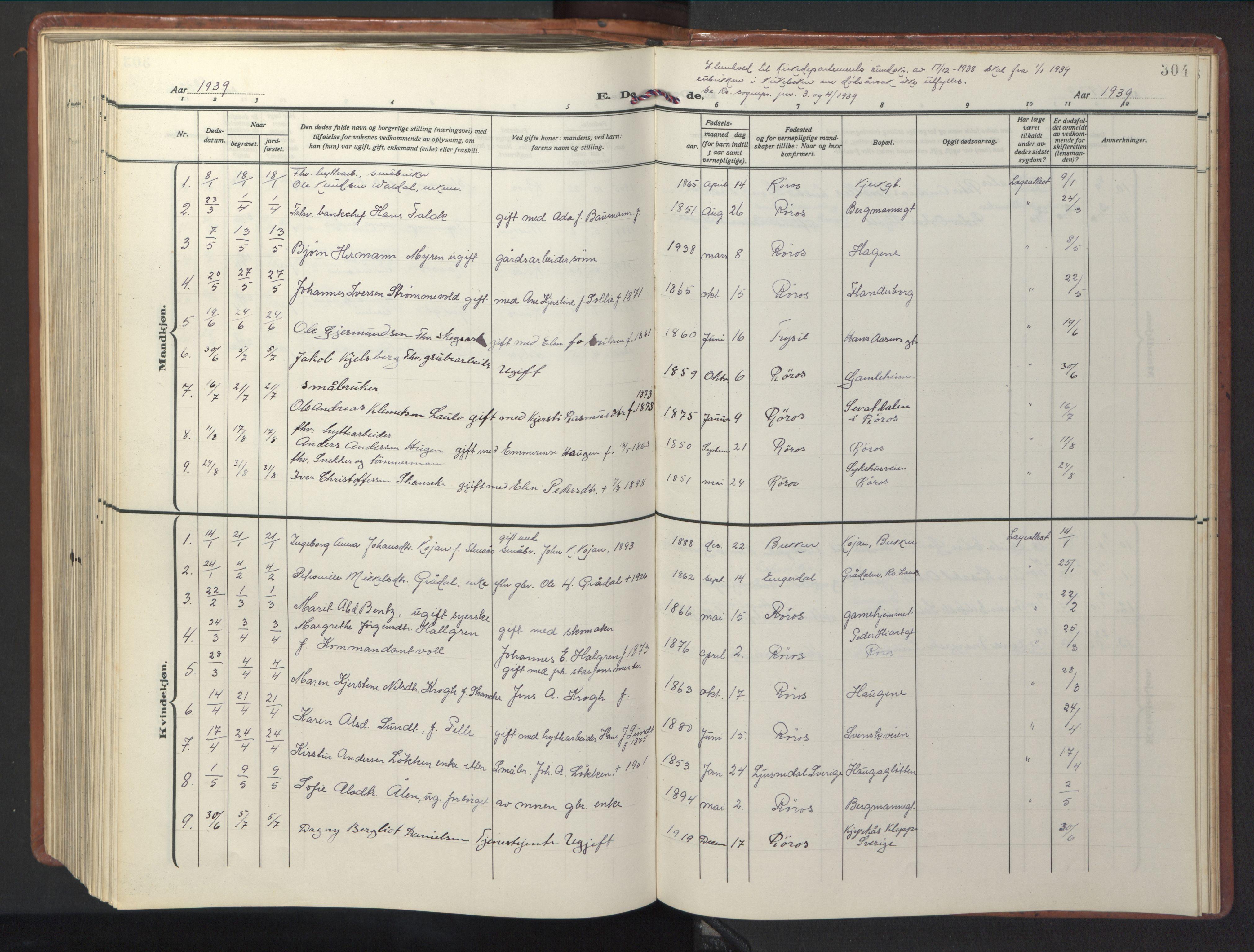 SAT, Ministerialprotokoller, klokkerbøker og fødselsregistre - Sør-Trøndelag, 681/L0943: Klokkerbok nr. 681C07, 1926-1954, s. 304