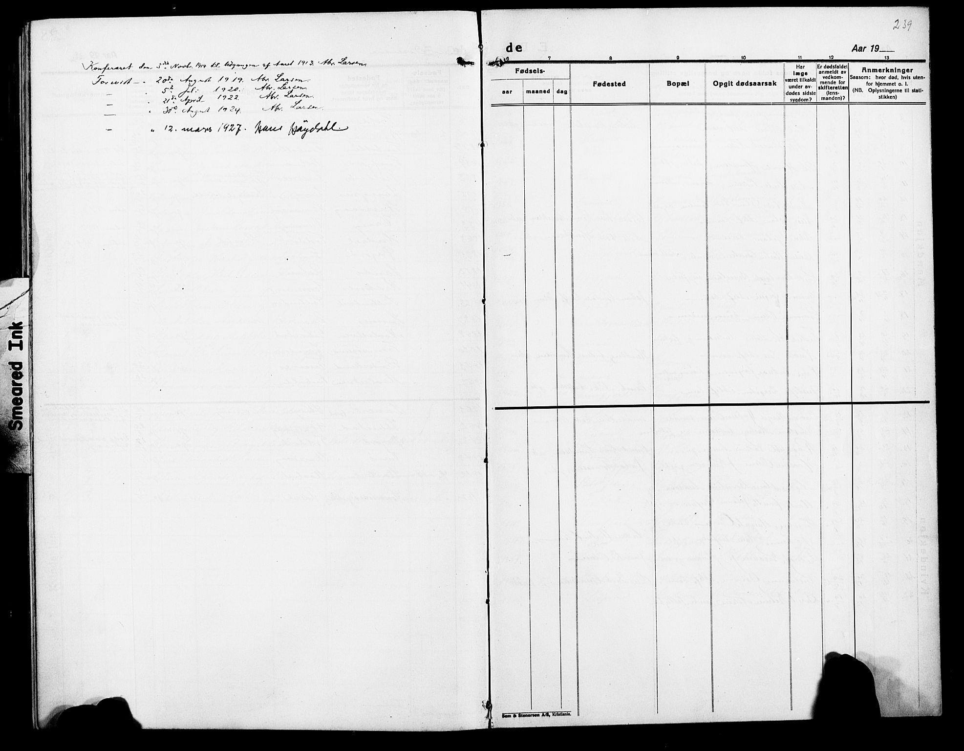 SATØ, Lenvik sokneprestembete, H/Ha: Klokkerbok nr. 9, 1912-1926, s. 239