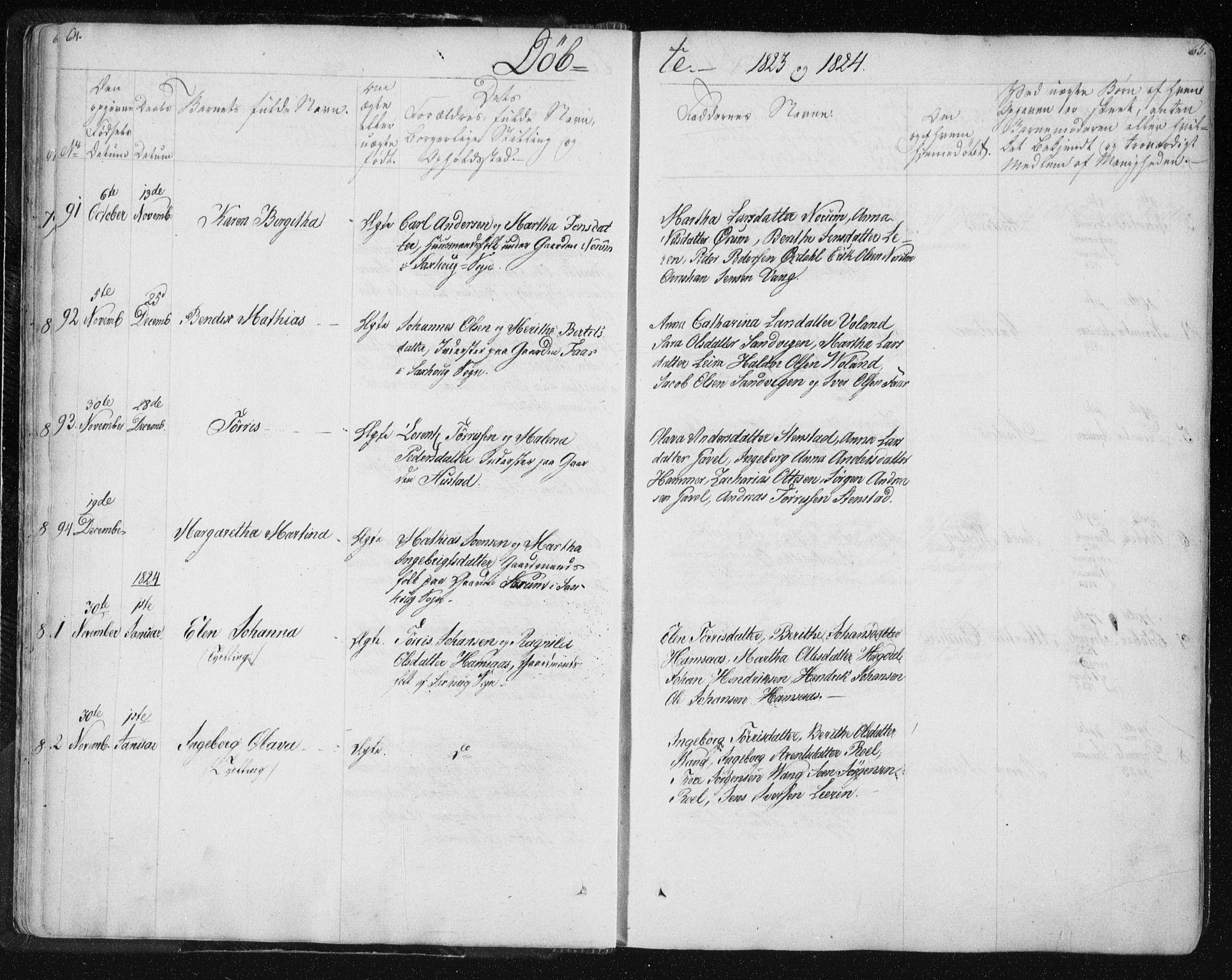 SAT, Ministerialprotokoller, klokkerbøker og fødselsregistre - Nord-Trøndelag, 730/L0276: Ministerialbok nr. 730A05, 1822-1830, s. 64-65